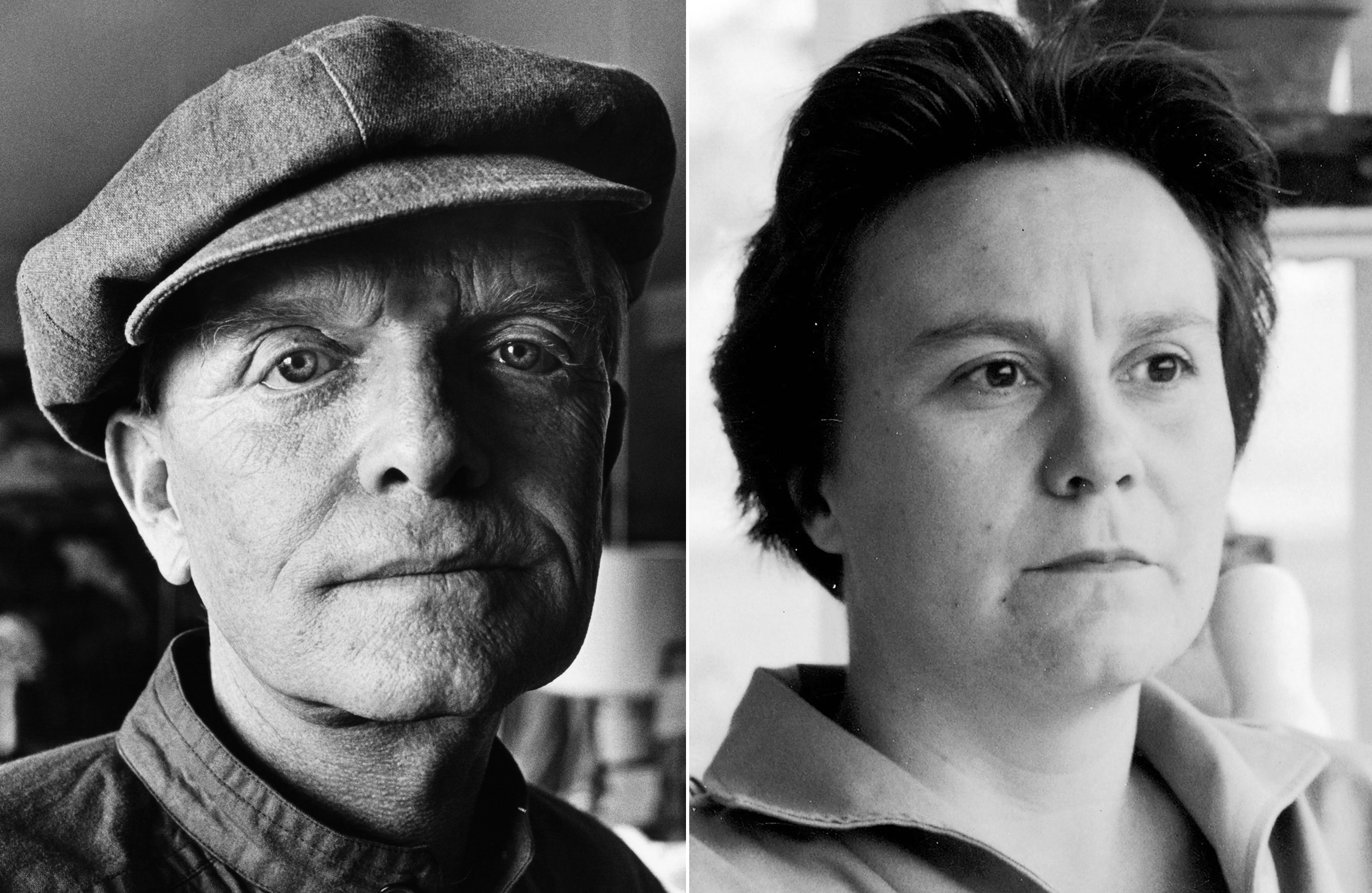 Truman Capote in his Upper East Side apartment in New York City in 1980 (L); Harper Lee in Monroeville, Alabama in May 1961.