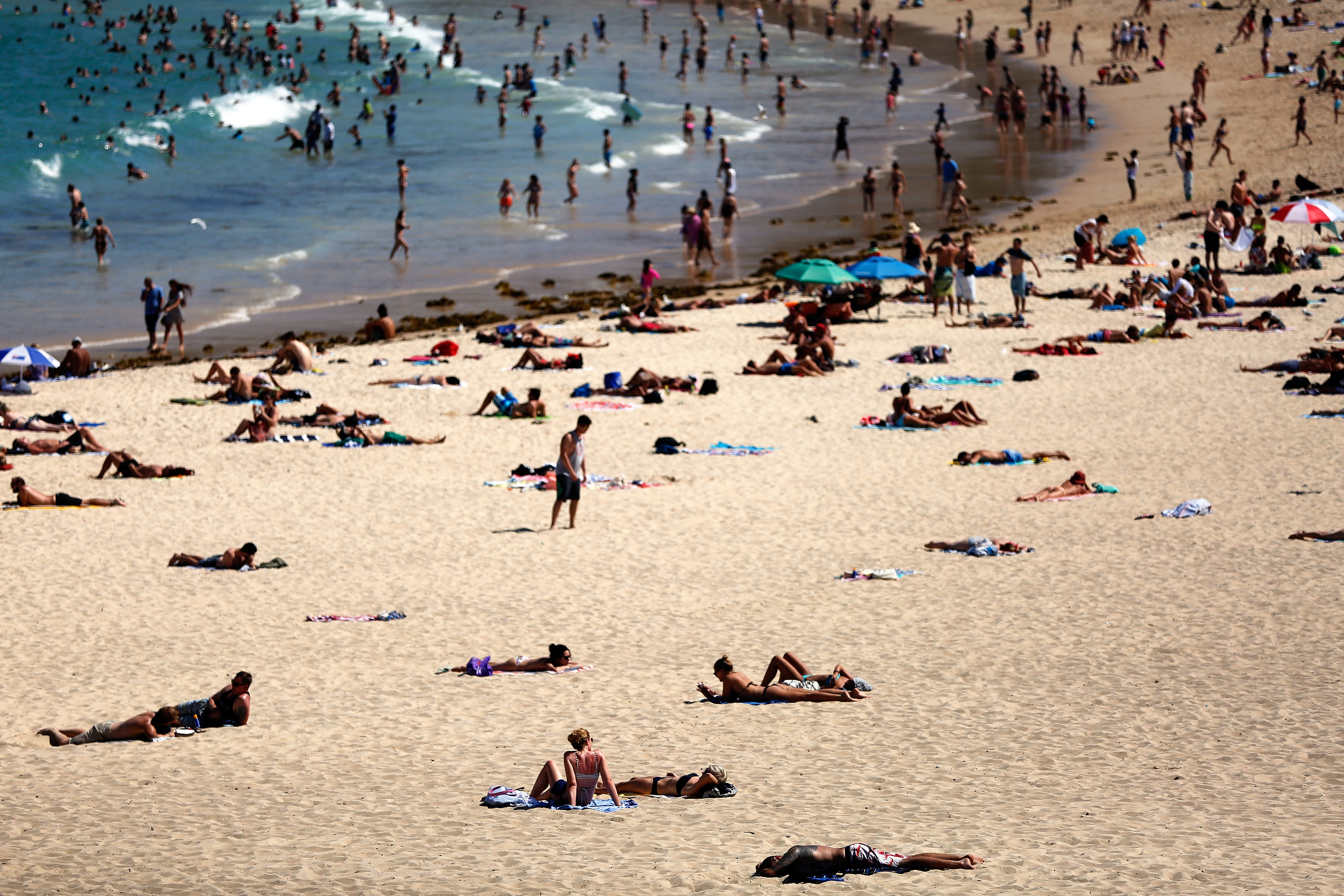 Beachgoers enjoy the hot weather at Coogee Beach on Jan. 13, 2016 in Sydney.