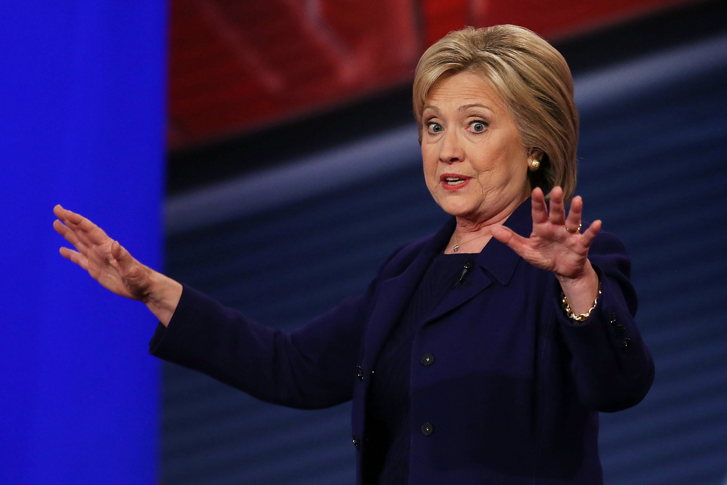 Democratic Presidential candidates Hillary Clinton speaks during a CNN and the New Hampshire Democratic Party hosted Democratic Presidential Town Hall at the Derry Opera House on February 3, 2016 in Derry, New Hampshire.