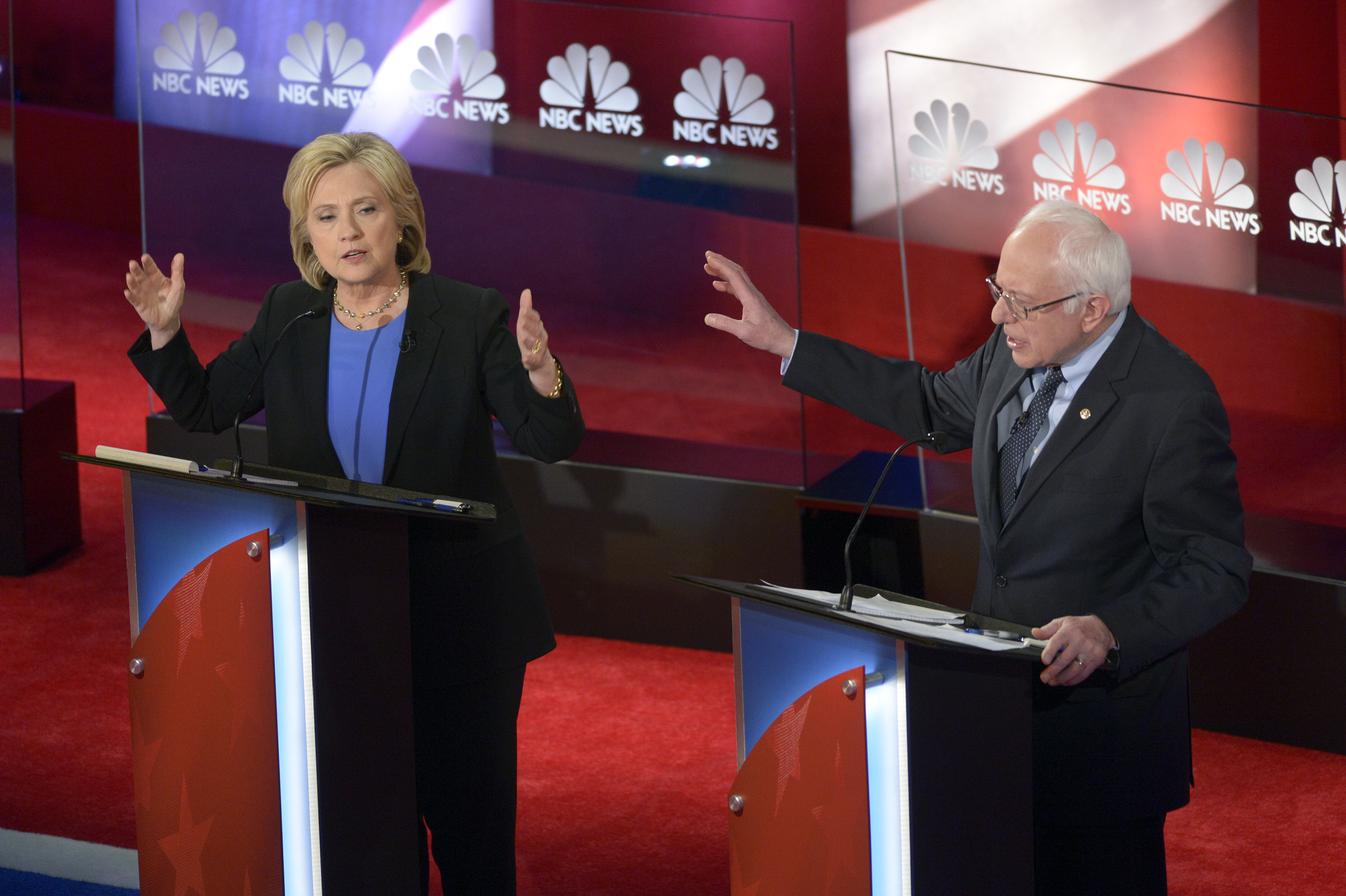 Former Secretary of State Hillary Clinton and Vermont Sen. Bernie Sanders appear during the NBC News democratic Debate on Jan. 17.
