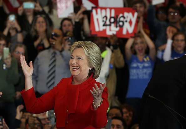 Democratic presidential candidate former Secretary of State Hillary Clinton greets supporters during her caucus night event in the Olmsted Center at Drake University in Des Moines, Iowa, on Feb. 1, 2016.