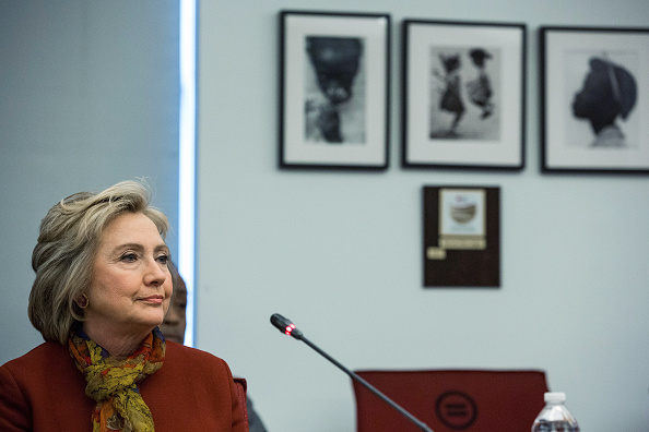 Democratic presidential hopeful and former U.S. Secretary of State Hillary Clinton meets with civil rights leaders at The National Urban League on February 16, 2016 in New York City.