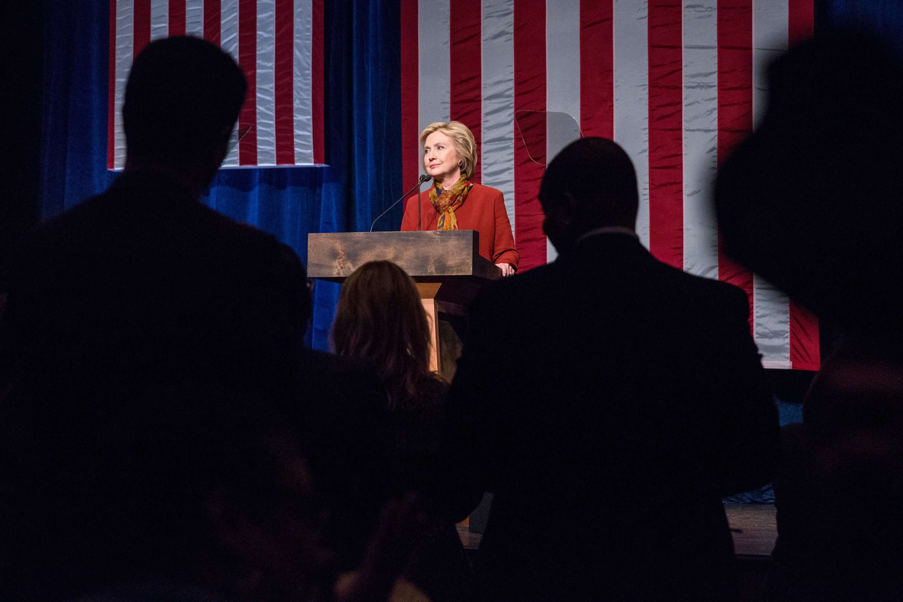 Hillary Clinton gives a speech at the Schomburg Center for Research in Black Culture on Feb. 16, 2016, in New York City