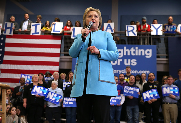 Democratic presidential candidate former Secretary of State Hillary Clinton speaks during a  Get Out The Vote Clinton Family Event  at Manchester Community College on February 8, 2016 in Manchester, New Hampshire.