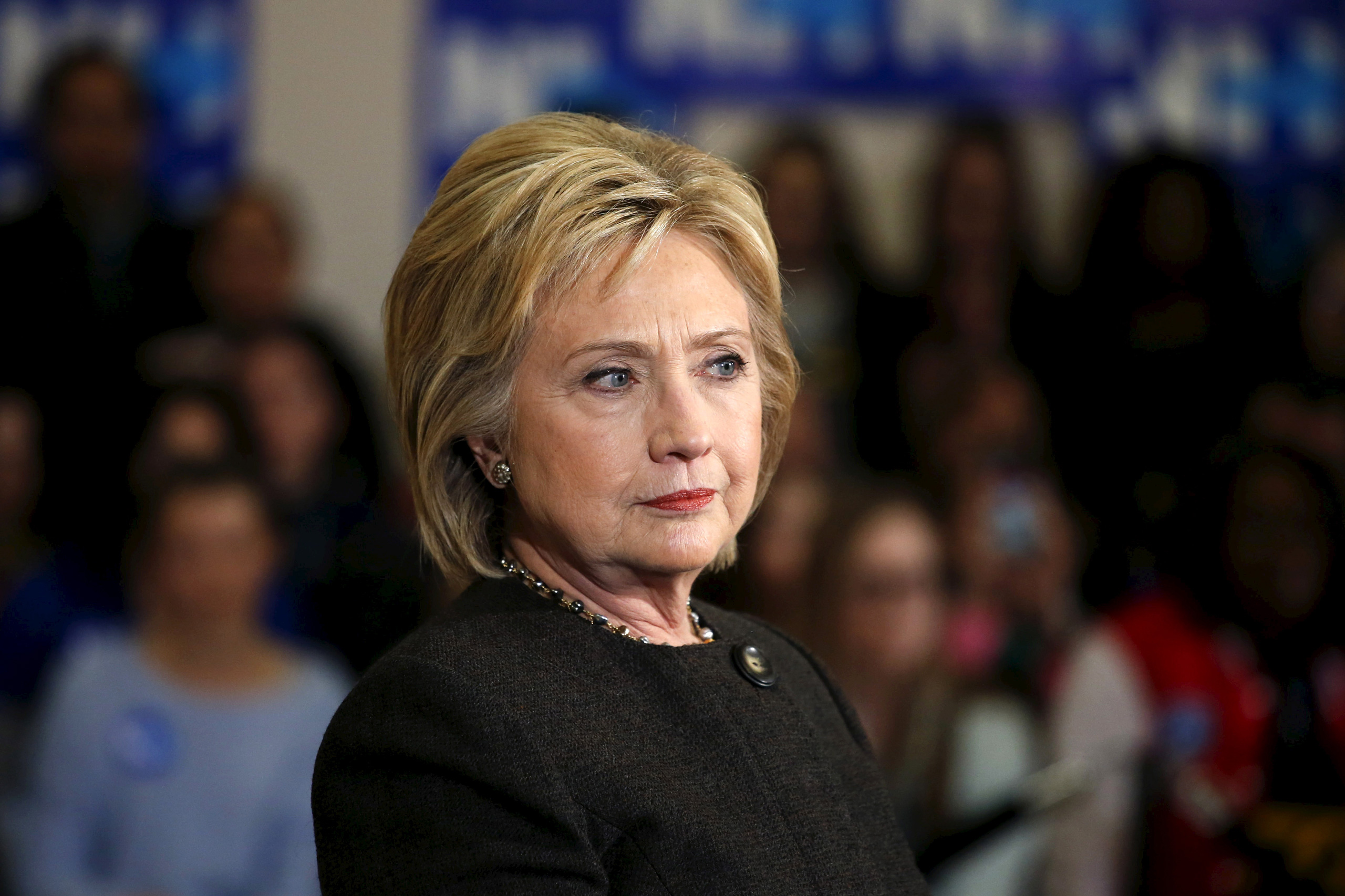 Democratic presidential candidate Hillary Clinton during a campaign rally at the Derry Boys and Girls Club in Derry, N.H., on Feb. 3, 2016.