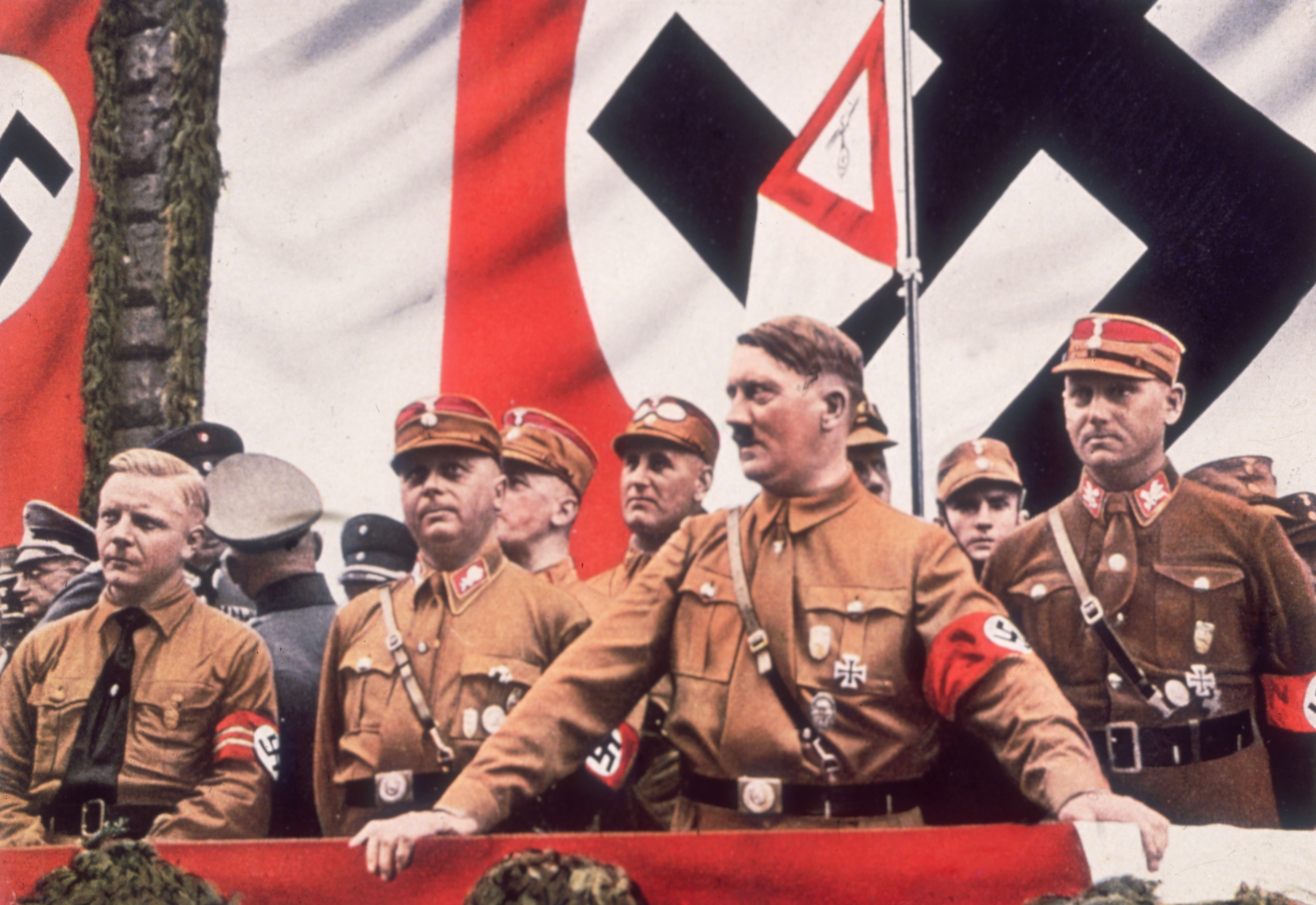 German dictator Adolf Hitler addresses a rally in Germany around 1933.
