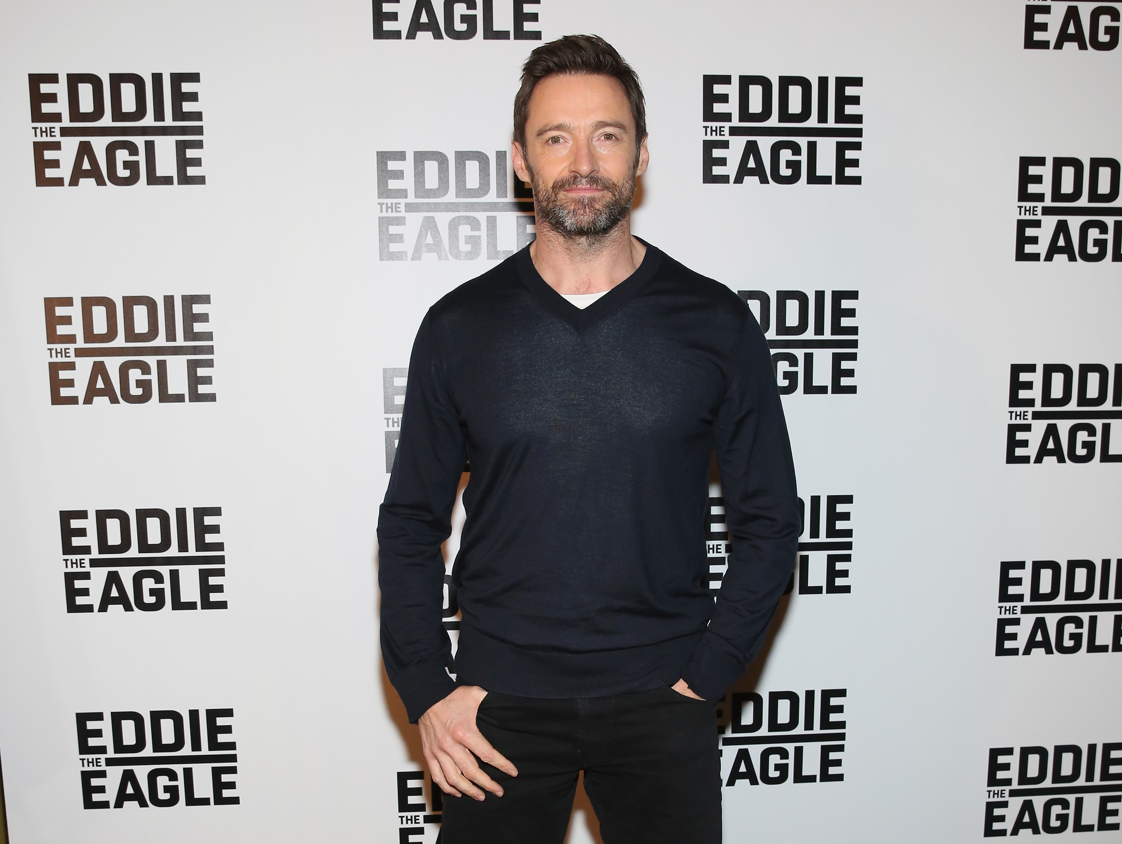 Hugh Jackman attends the  Eddie The Eagle  Screening at Landmark Sunshine Theater on February 2, 2016 in New York City.