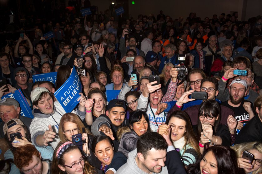 Supporters cheer for Vermont Sen. Bernie Sanders on caucus night in during a rally in Des Moines, Iowa on Feb. 1, 2016.