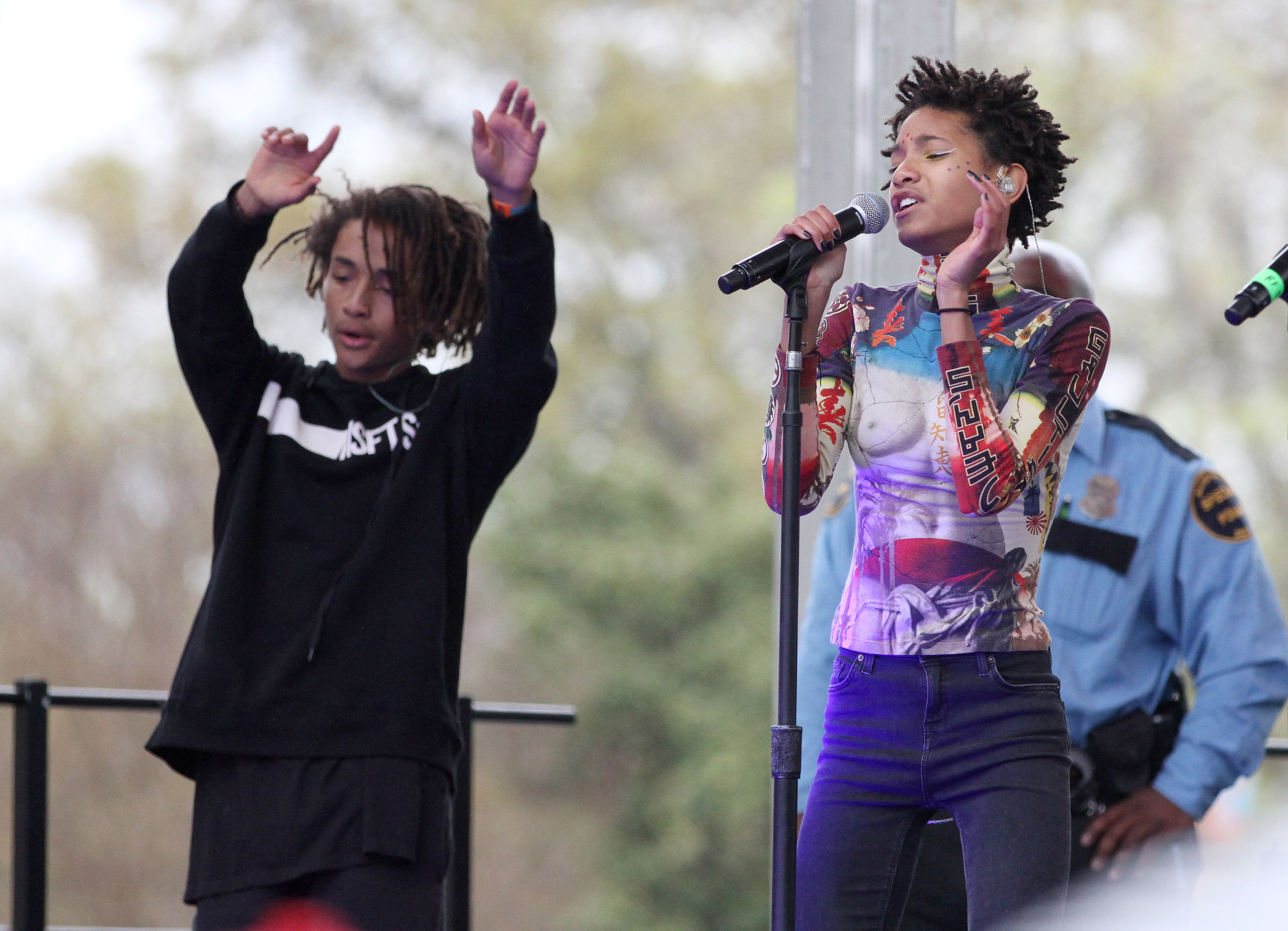 Willow and Jaden Smith right perform at the 2015 Broccoli City Festival at the Gateway DC Pavilion in Washington, D.C., April 25, 2015.