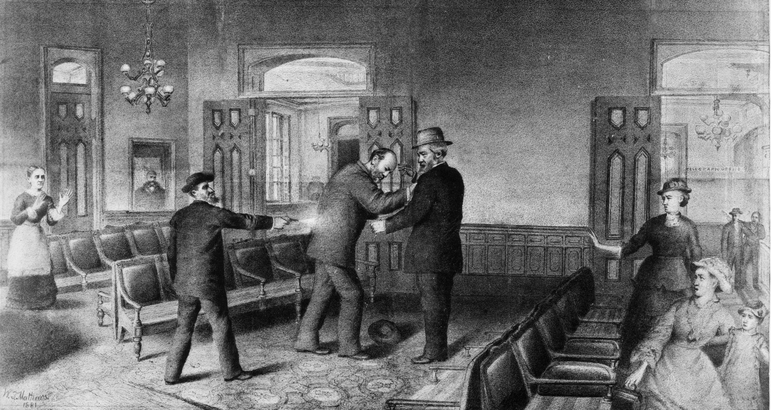 Charles Jules Guiteau, a disillusioned office seeker shoots US president James Garfield in the back at the Baltimore and Potomac Railroad Depot, Washington, DC. Garfield finally died of his injuries on September 19th, 1881. Original Artist: By William T Mathews.