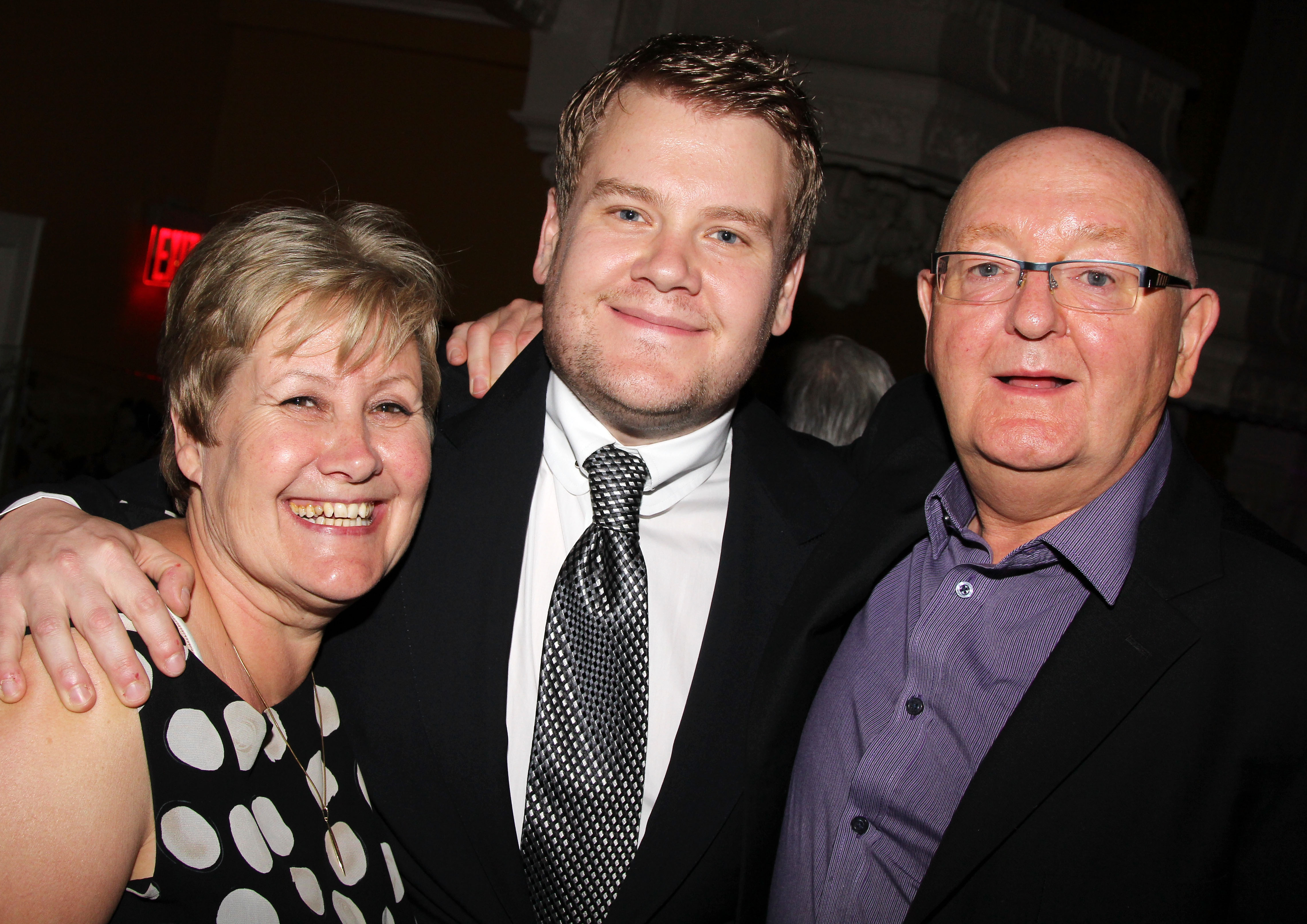 James Corden poses with his mother Margaret Corden and father Malcolm Corden as they attend the after party for the  One Man, Two Guvnors  Broadway Opening Night at The Liberty Theatre on April 18, 2012 in New York City.