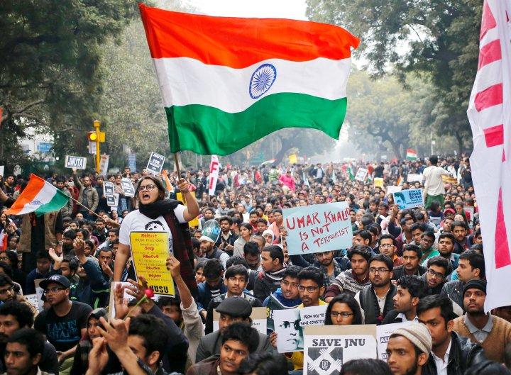Protesters in New Delhi demand the release of JNU student leader Kanhaiya Kumar