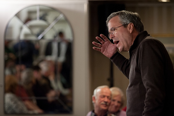 Republican presidential candidate Jeb Bush speaks at the Margate Resort on February 3, 2016 in Laconia, New Hampshire.