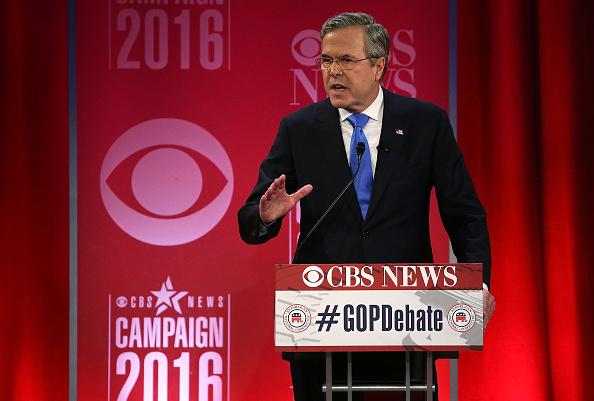 Republican presidential candidate Jeb Bush participates in a CBS News GOP Debate February 13, 2016 at the Peace Center in Greenville, South Carolina.