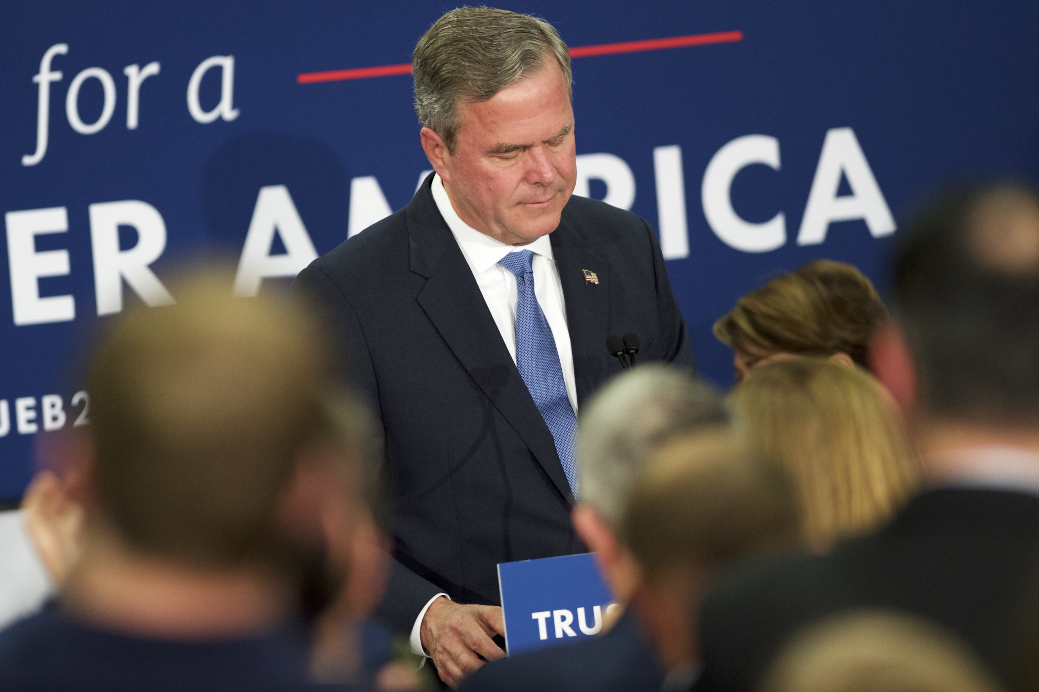 Jeb Bush reacts as he announces the suspension of his presidential campaign in Columbia, SC on Feb. 20, 2016.