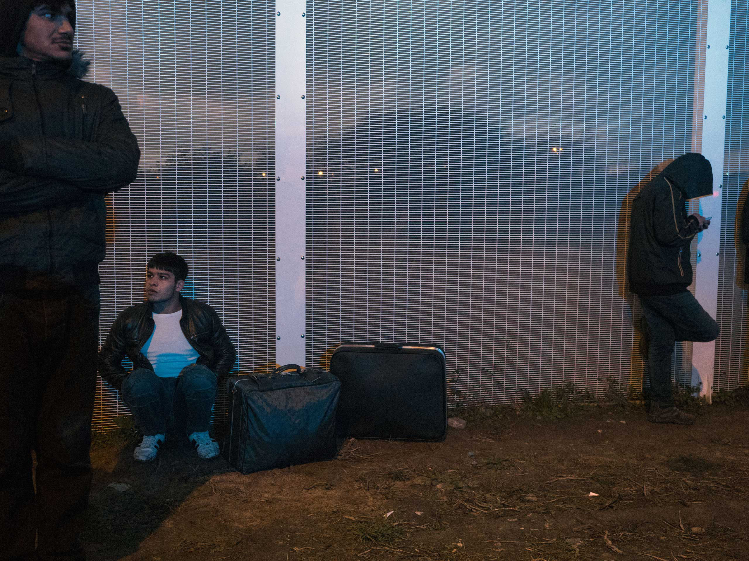 New arrivals at the entrance to the  jungle , Nov. 25, 2015, Calais, France.  The migrants who come to Calais hope to eventually make their way to the United Kingdom.