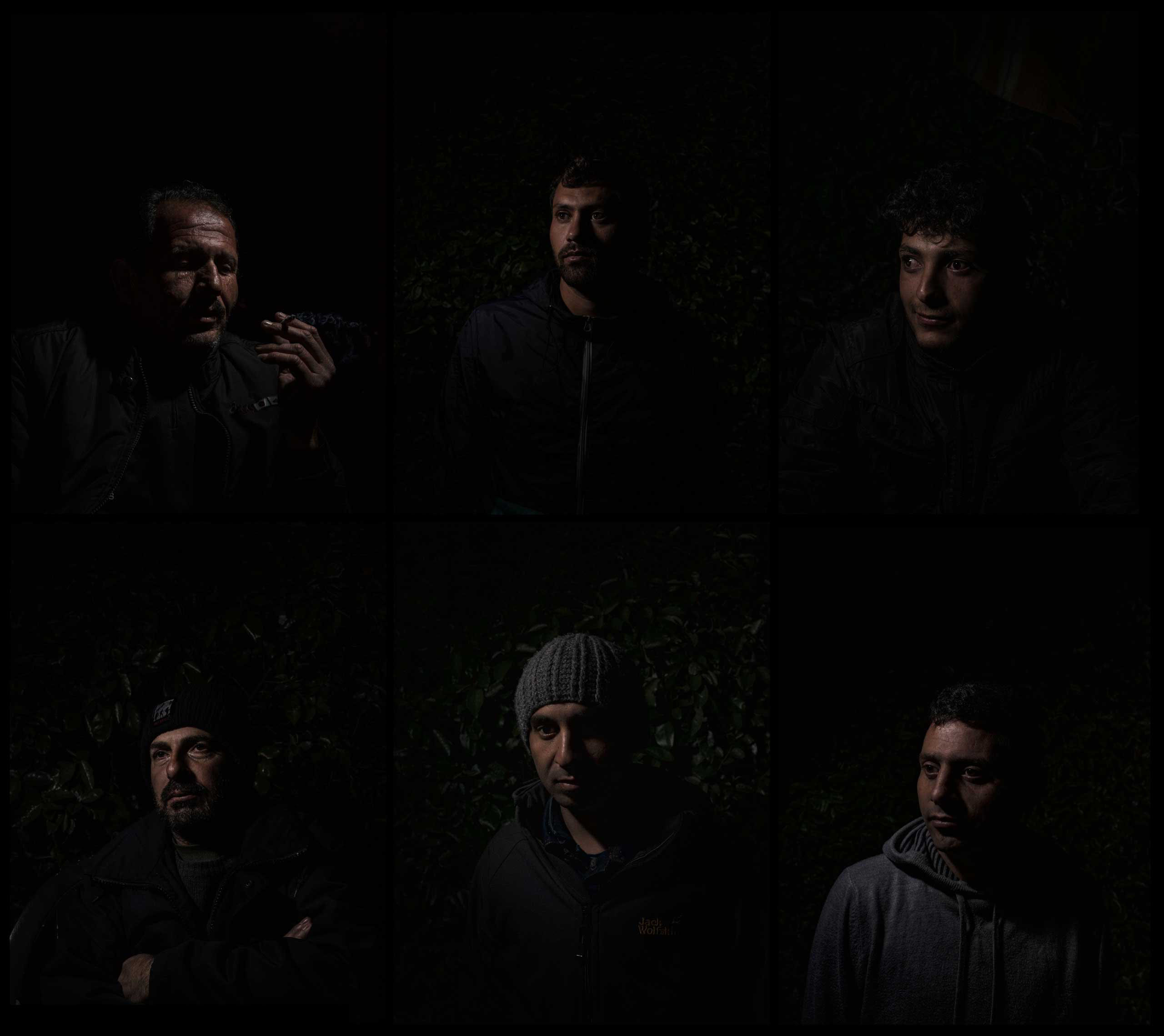 A grid of portraits of Syrian refugees who have recently arrived in Calais, France, 2015.