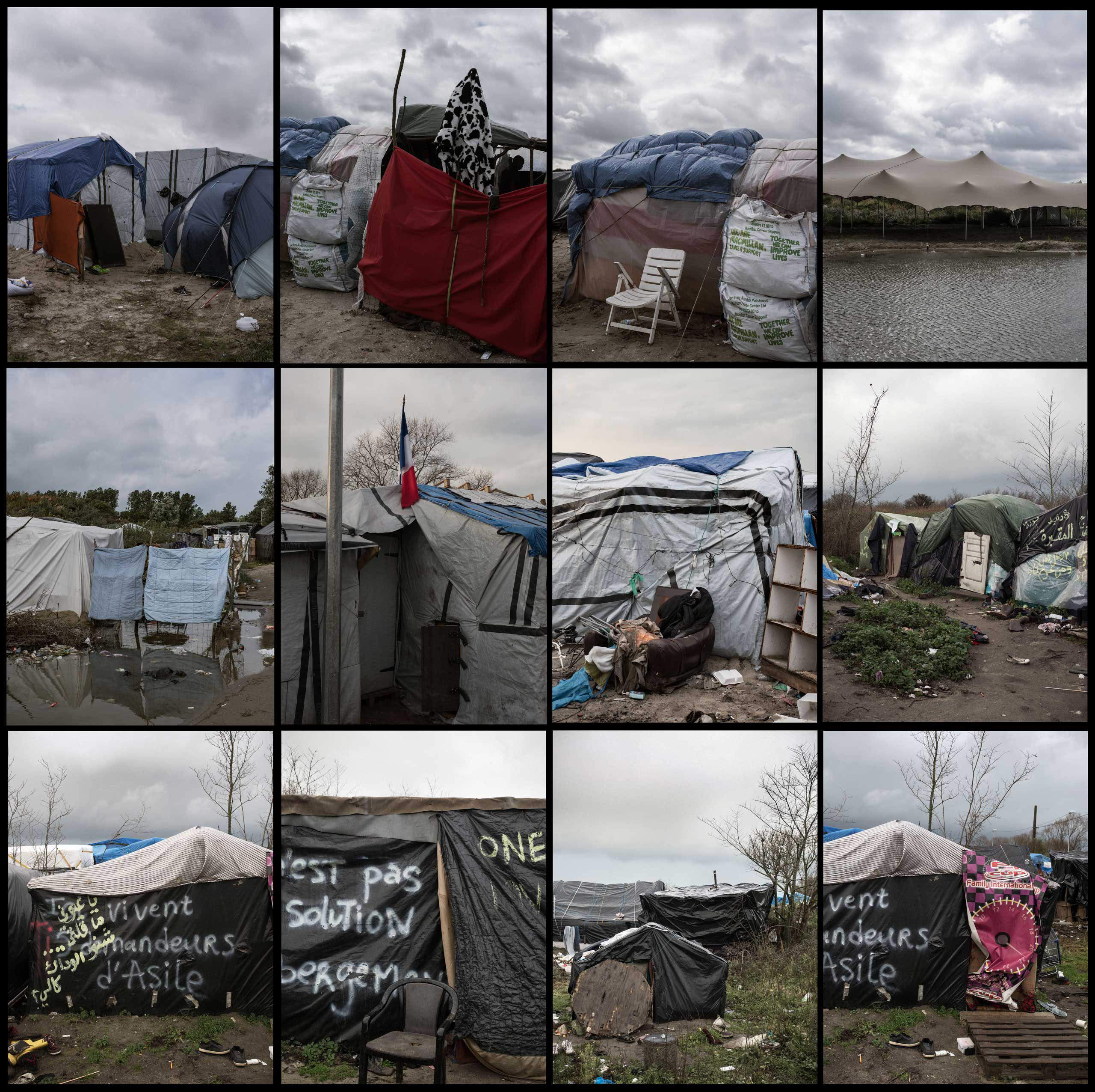 A grid showing various make-shift dwellings for migrants in the shantytown known as the  jungle  in Calais, France, where 4,000 migrants, refugees, and asylum seekers have sought shelter before attempting to make their way to the United Kingdom, 2015.