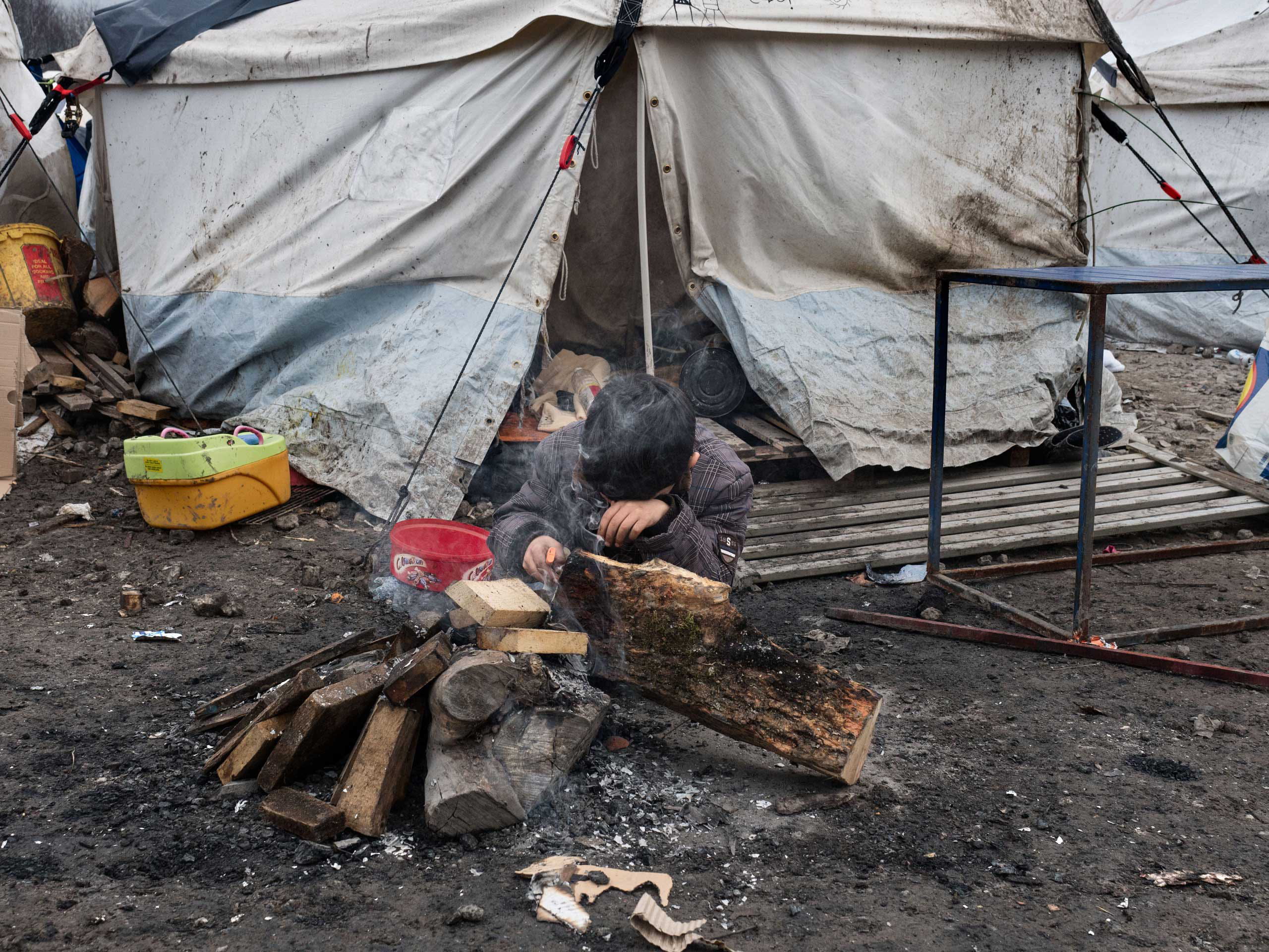 The refugee camp near Dunkirk, Grande-Synthe, which is accommodating over 2,500 refugees, mostly families from Kurdistan, Jan. 20, 2016