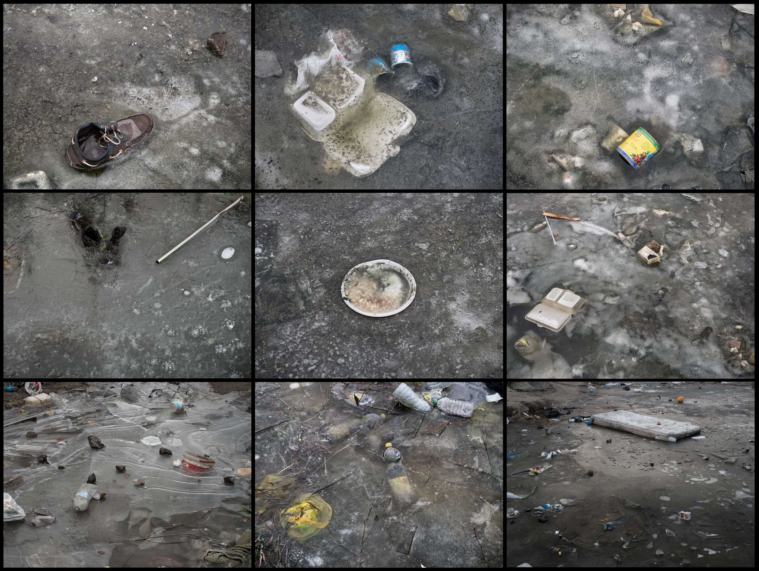 Details of personal belongings and trash frozen in the ice in the  jungle  in Calais, France, where a  mix of refugees, asylum seekers and economic migrants from Darfur, Afghanistan, Syria, Iraq, Eritrea have come to live in the hopes of eventually making their way to the United Kingdom, Jan. 2015.