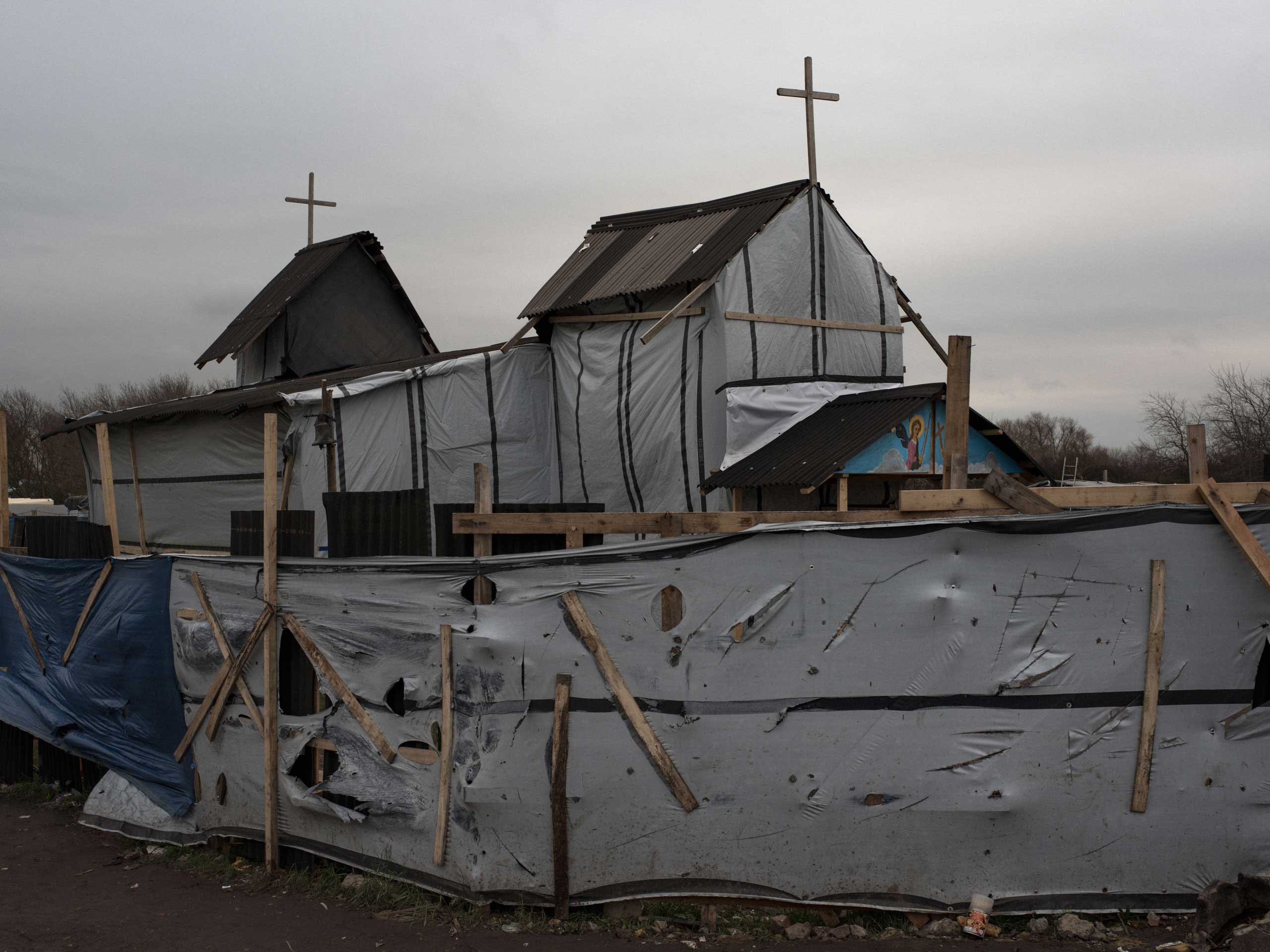 The makeshift church for the Ethiopian and Eritrean community is known as St. Michael's Calais in the  jungle  of Calais, France, Nov. 27, 2015.