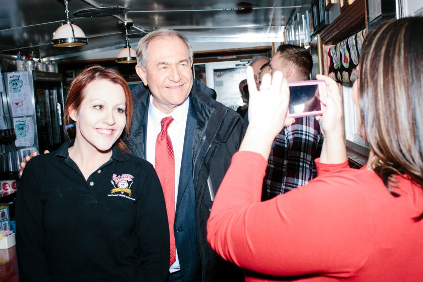Former Virginia governor and Republican presidential candidate Jim Gilmore poses for a picture with general manager Jayme Lemay, of Nashua, NH, at the Red Arrow Diner in Manchester, New Hampshire, on Mon., Feb. 8, 2016. The Red Arrow Diner is a frequent stop of political candidates. Sirius XM was broadcasting live from the diner Monday and Tuesday. Gilmore finished in last place among major Republican candidates still in the race with a total of 150 votes.