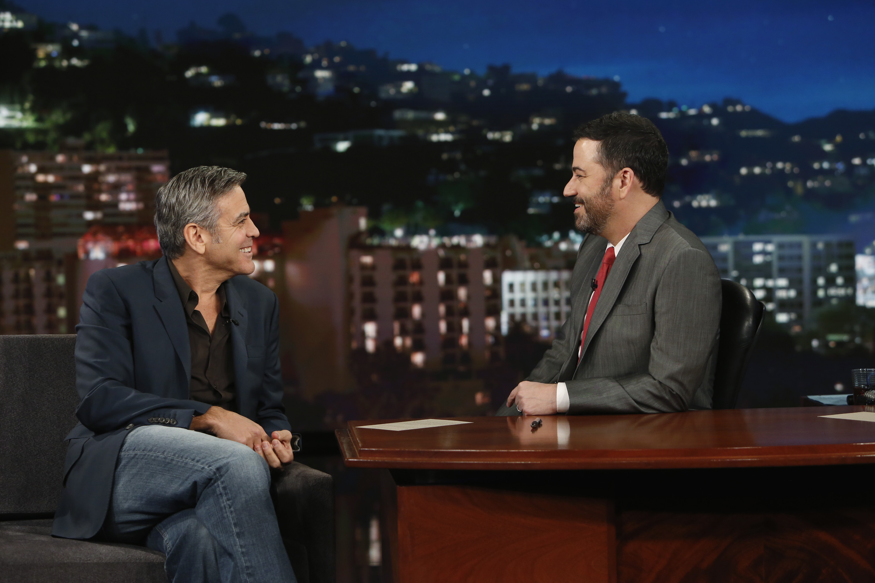 Jimmy Kimmel and George Clooney on 'Jimmy Kimmel Live!' on Feb.2, 2016.