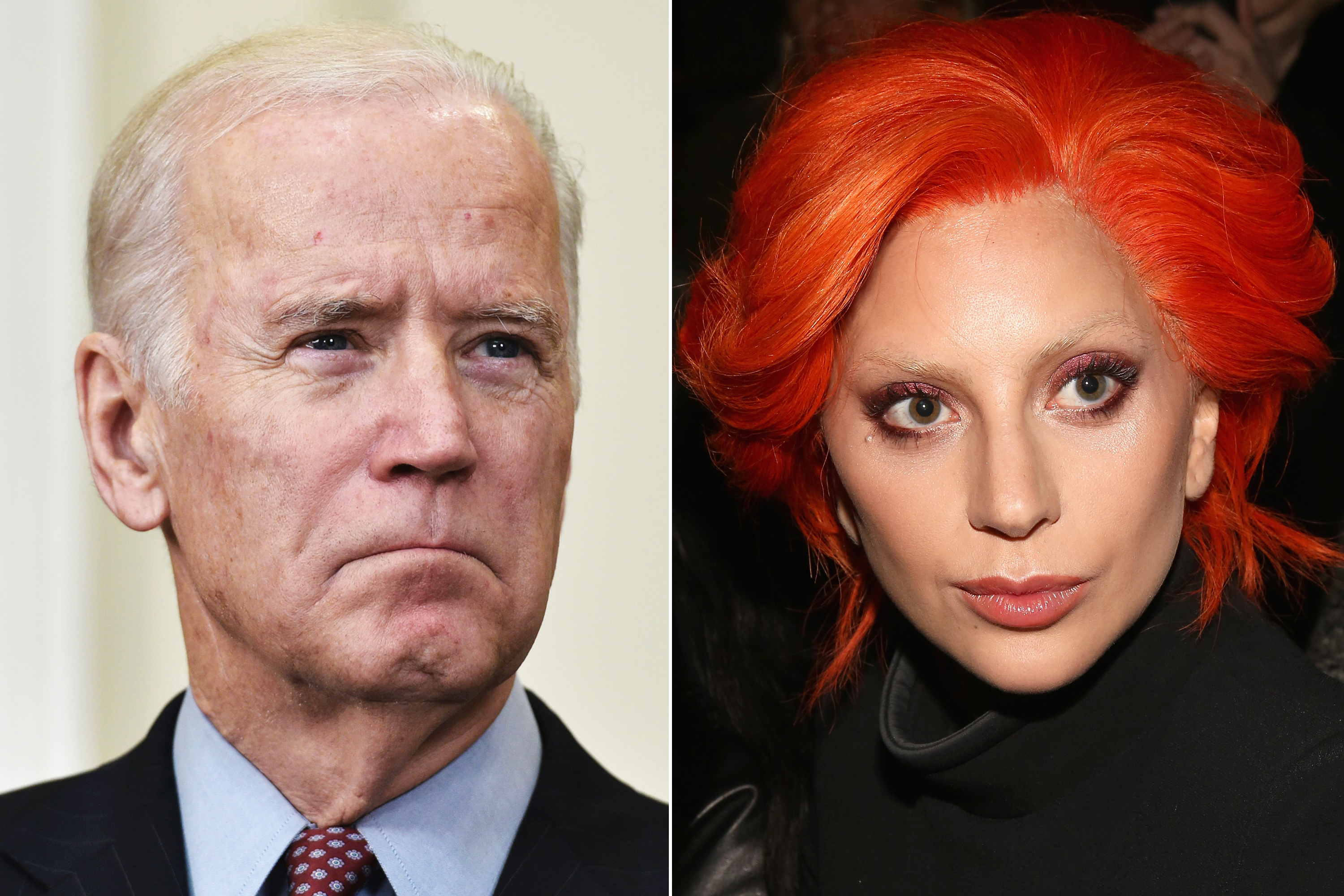 Left  Joe Biden is seen as President Barack Obama speaks on the Guantanamo Bay detention camp in the Roosevelt Room of the White House in Washington, DC.  on Feb. 23, 2016.  Right  Lady Gaga attends Brandon Maxwell Fall 2016 New York Fashion Week at Monkey Bar in New York City on Feb. 16, 2016.