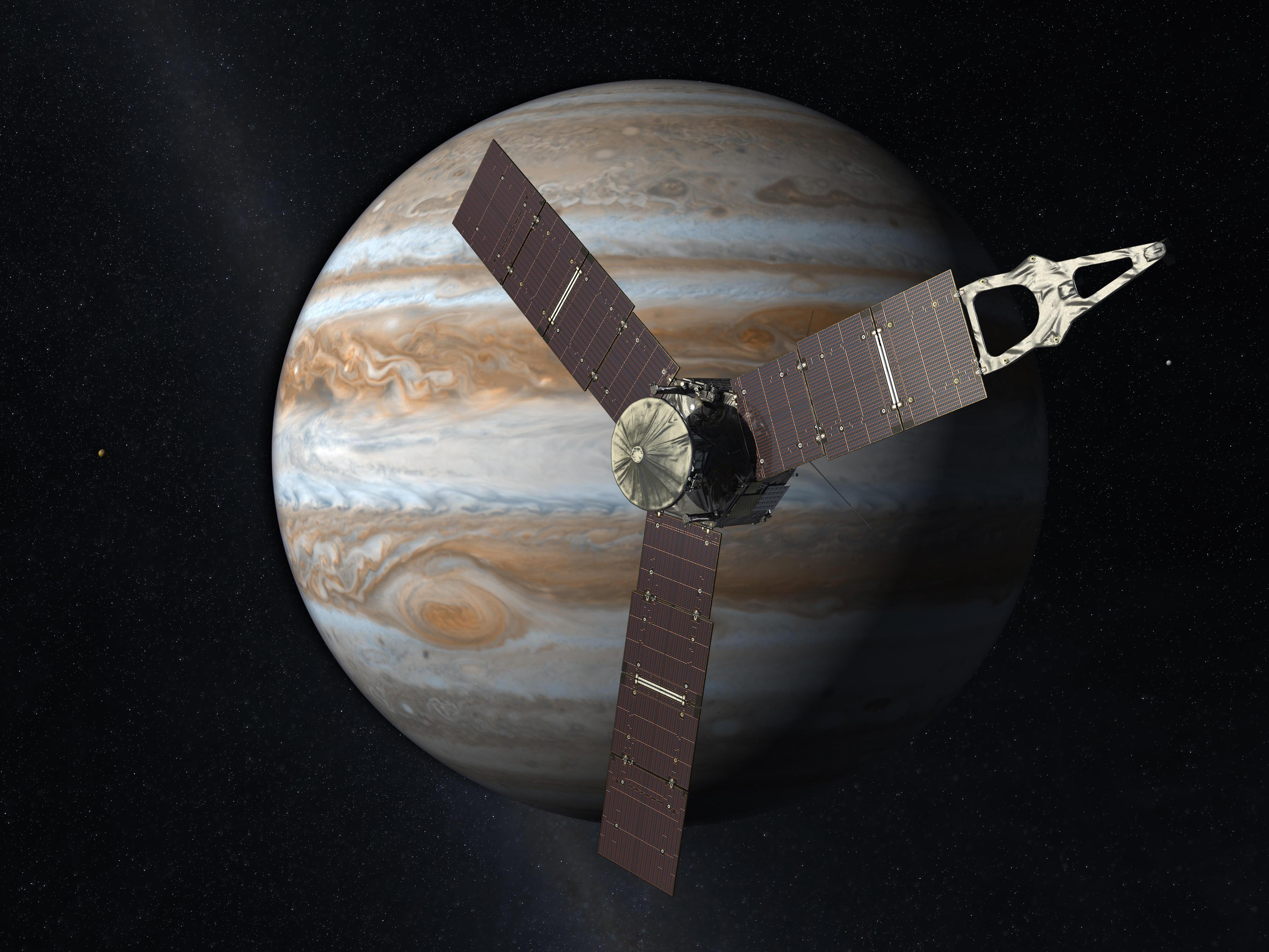 Little ship, big job: An artist's rendering of Juno at work near Jupiter