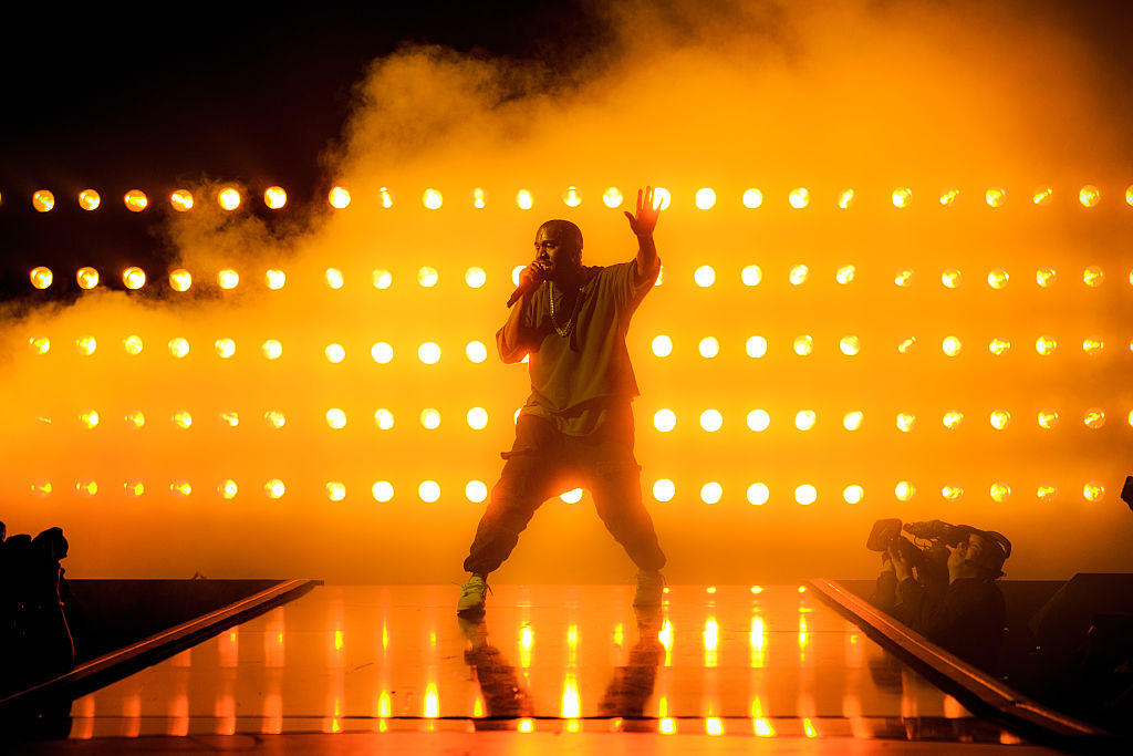 Kanye West performs at the 2015 iHeartRadio Music Festival at MGM Grand Garden Arena on Sept. 18, 2015.