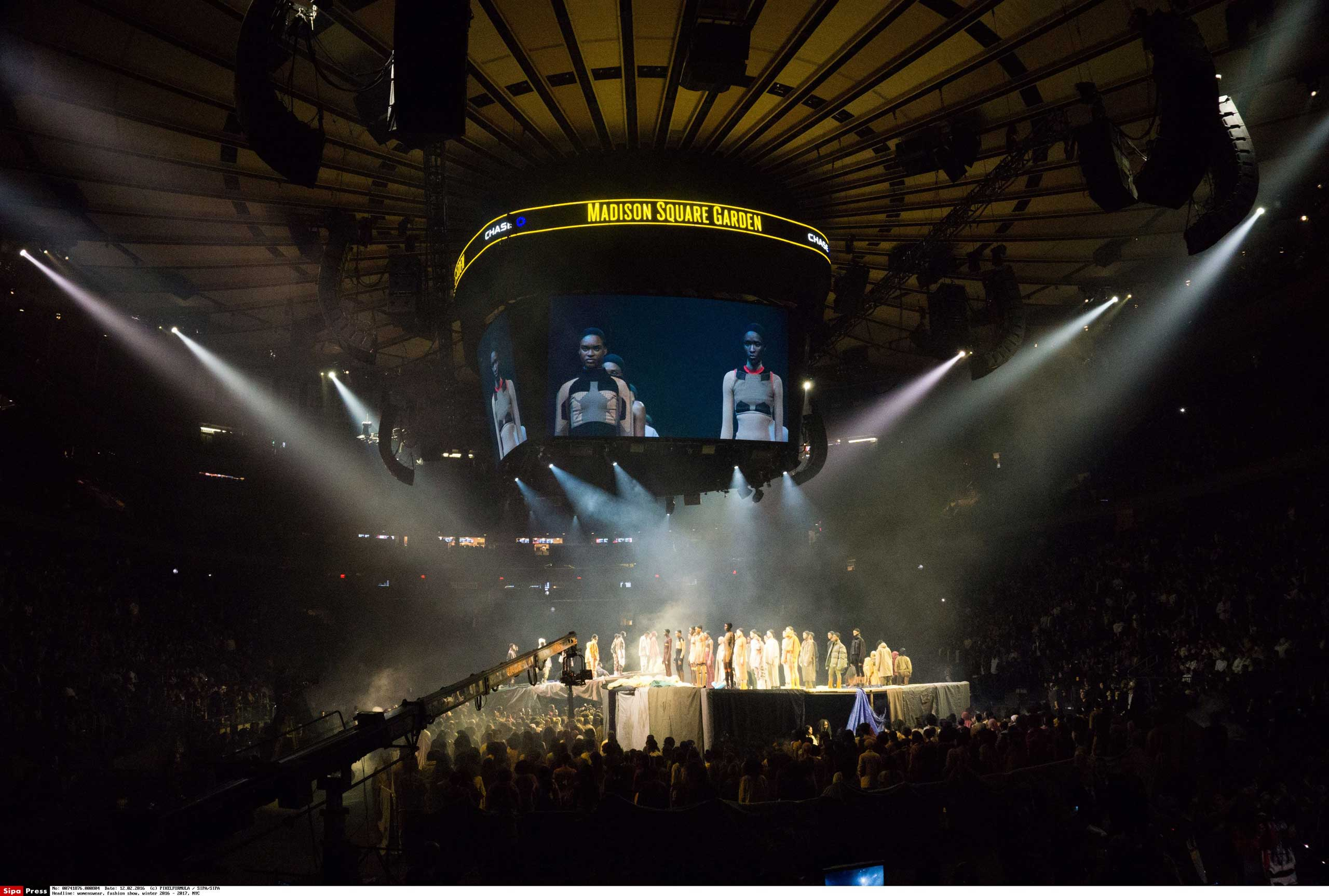 Kanye West's Yeezy Season 3 fashion show at Madison Square Garden, Feb. 11, 2016.