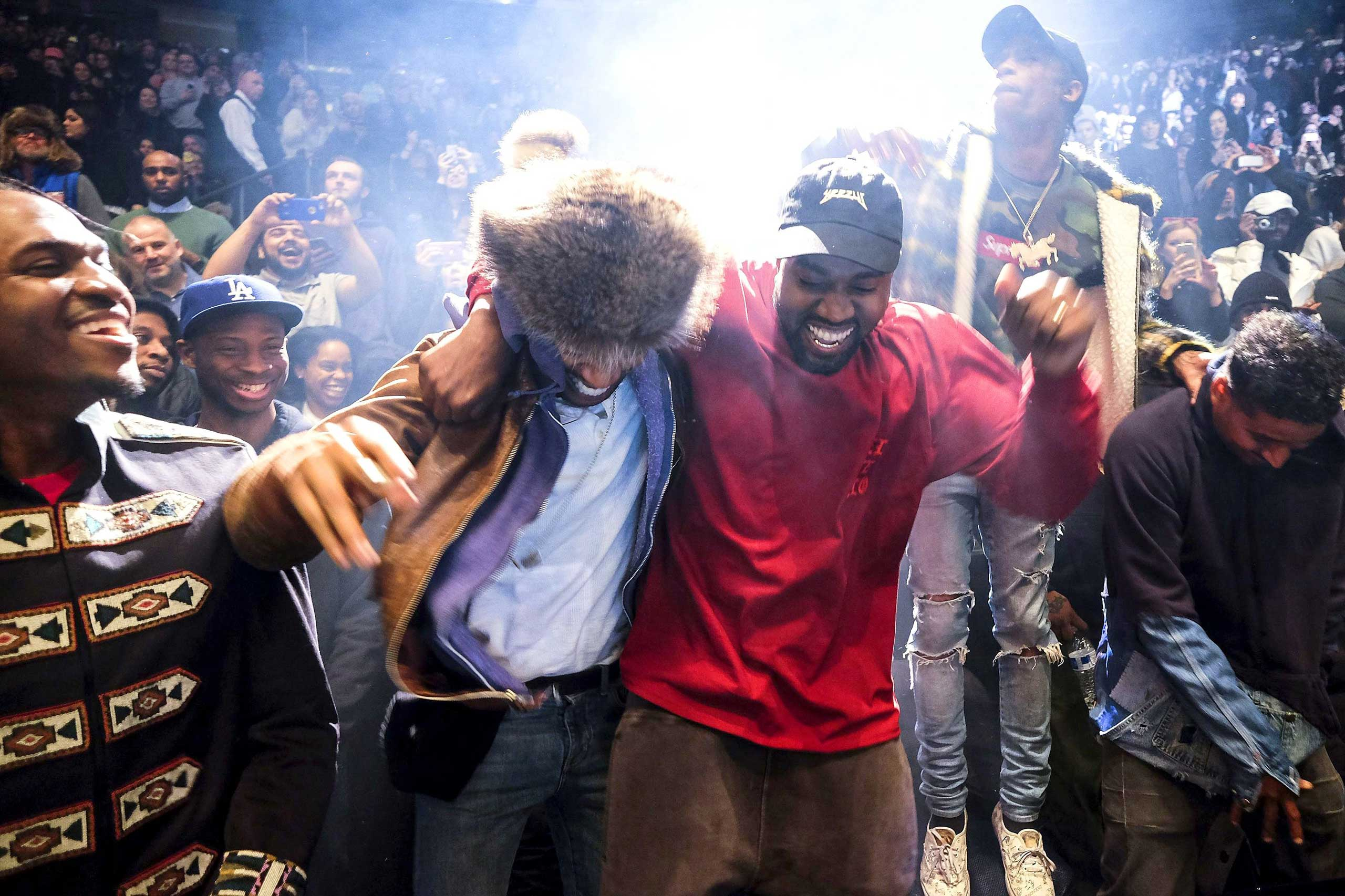Pusha T, Steven Victor, Kid Cudi, Kanye West, Travis Scott and Don C                               at West's Yeezy Season 3 fashion show at Madison Square Garden, Feb. 11, 2016.