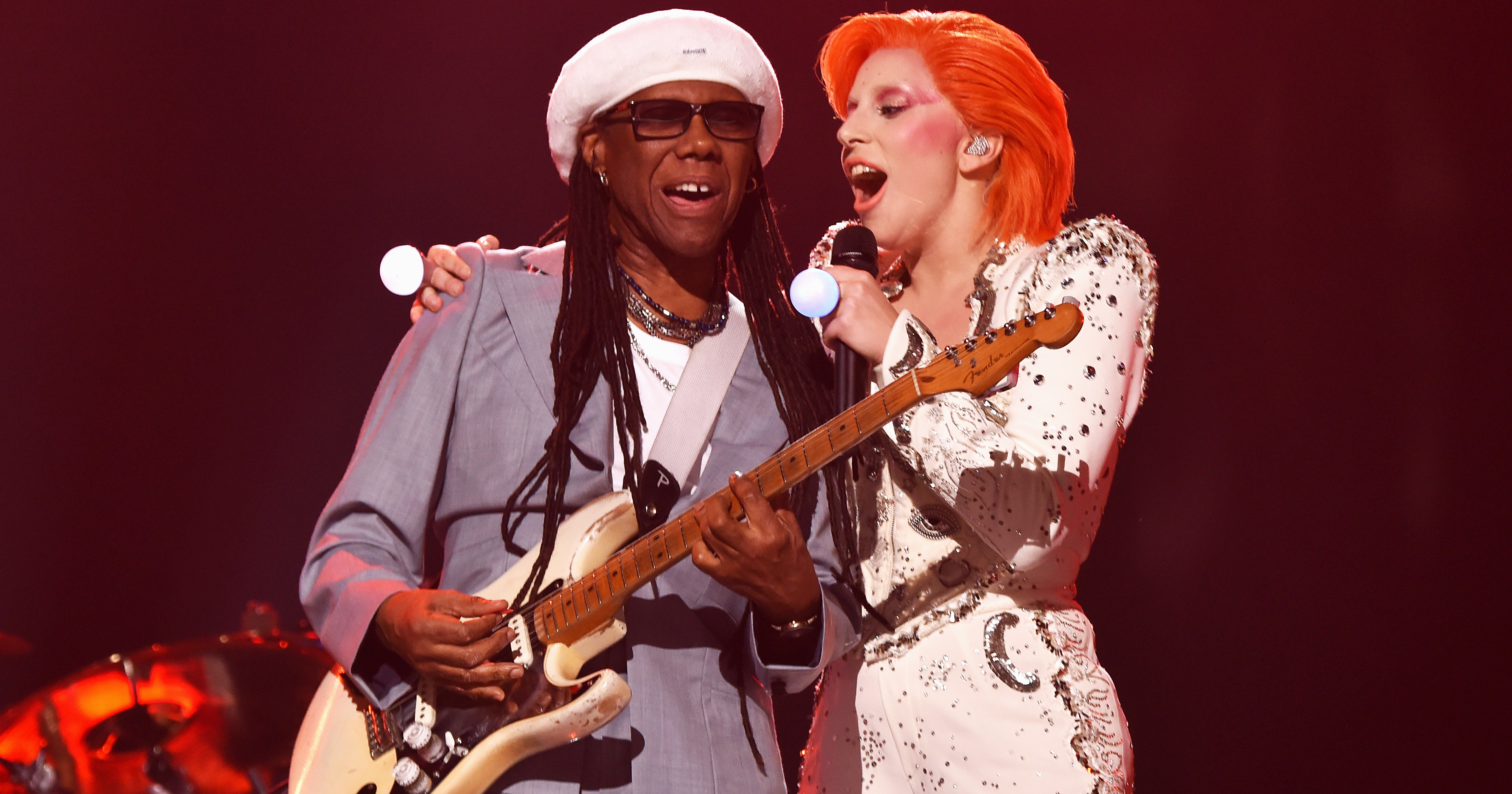 Nile Rodgers, left, and Lady Gaga, right, perform during the 58th GRAMMY Awards on Feb. 15, 2016 in Los Angeles.
