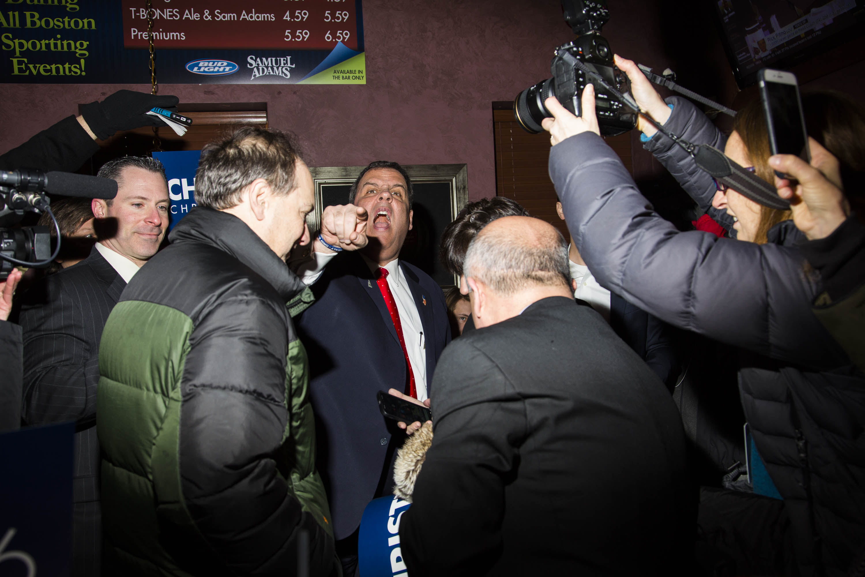 New Jersey Gov. Chris Christie speaks to attendees during a campaign event at the Great American T-Bone Diner in Derry, N.H., on Feb. 9, 2016.