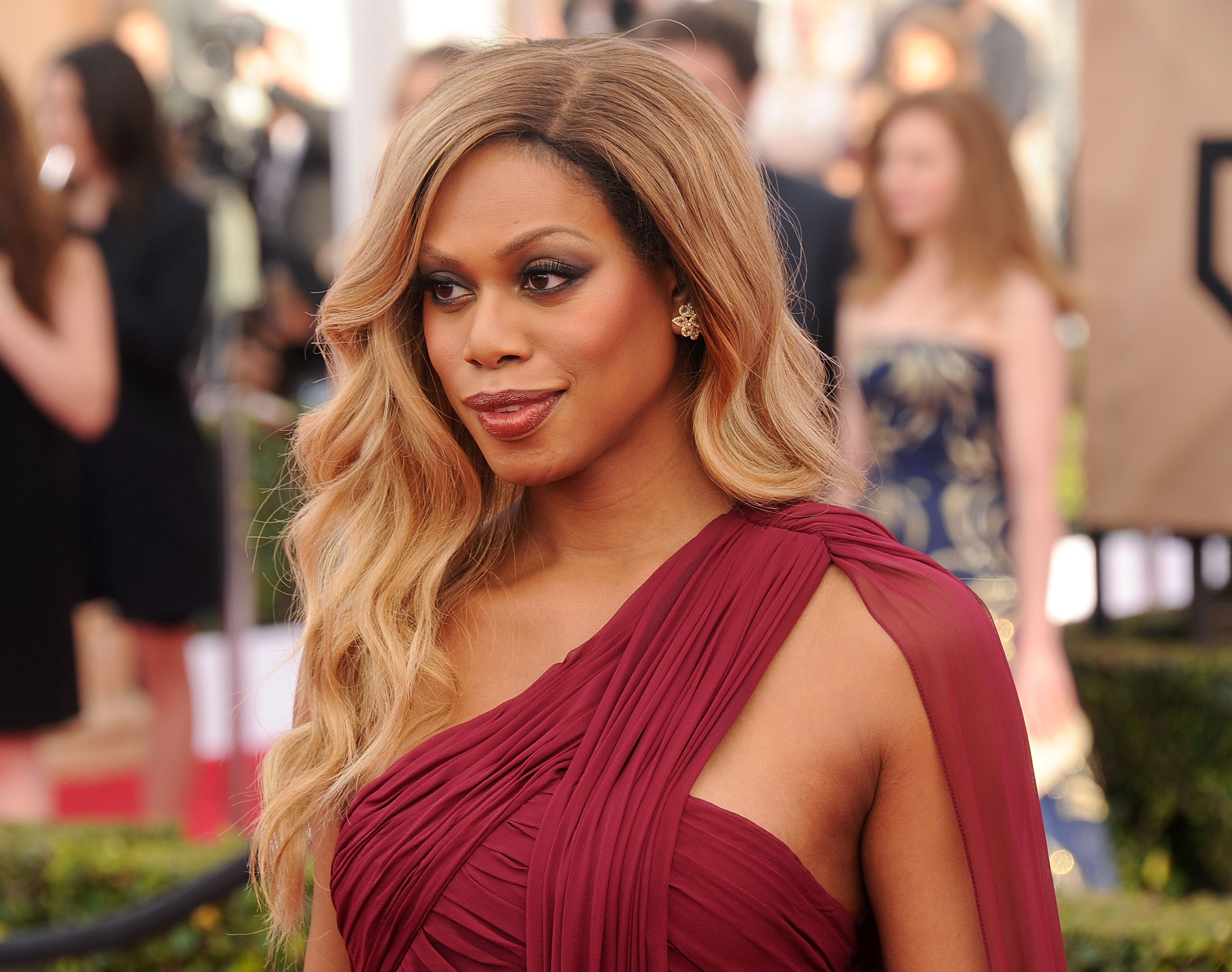 Actress Laverne Cox arrives at the 22nd Annual Screen Actors Guild Awards at The Shrine Auditorium on January 30, 2016 in Los Angeles, California.