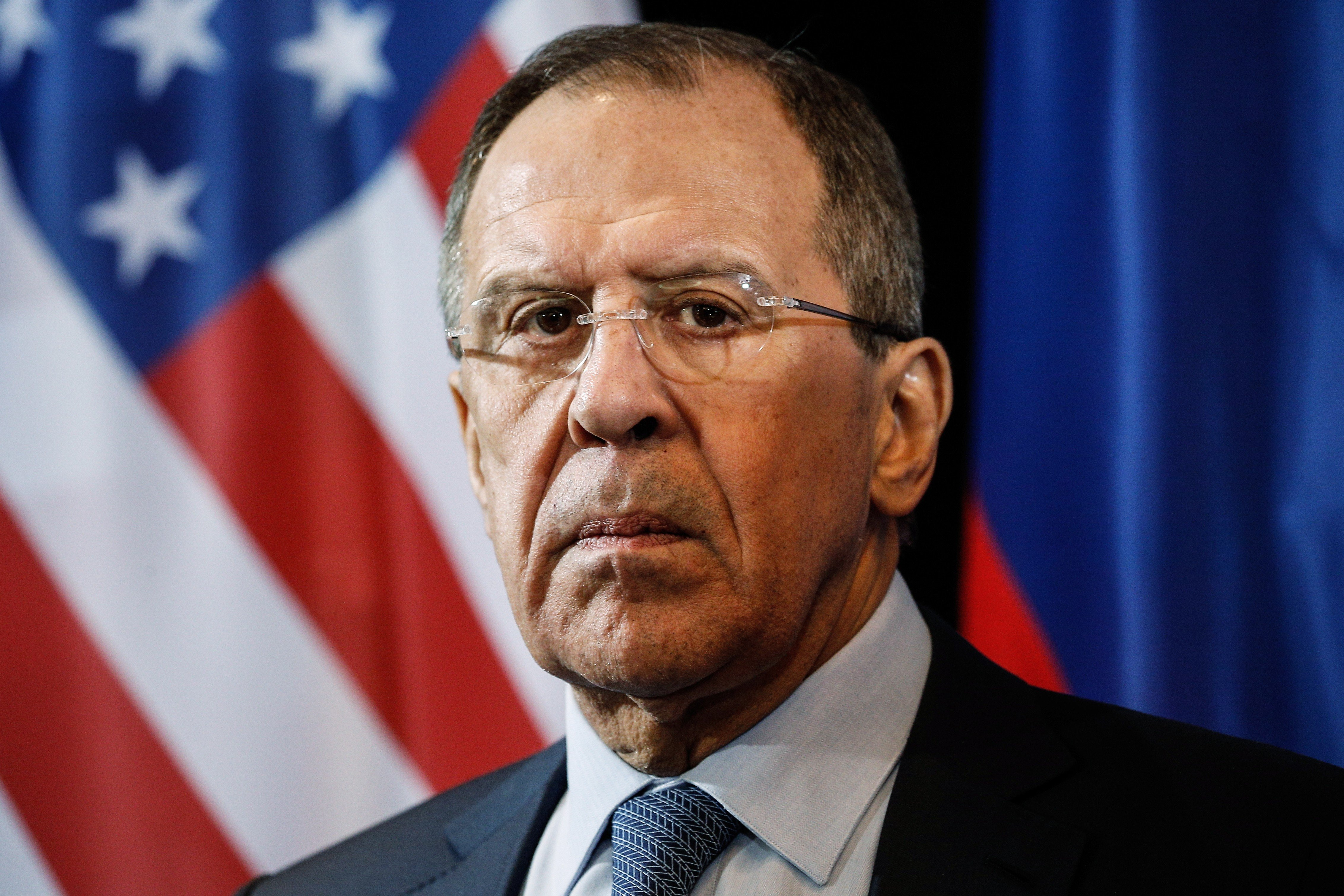 Russia's Foreign Minister Sergei Lavrov in a press conference following a meeting of the International Syria Support Group in Munich, Germany on Feb. 12, 2015.