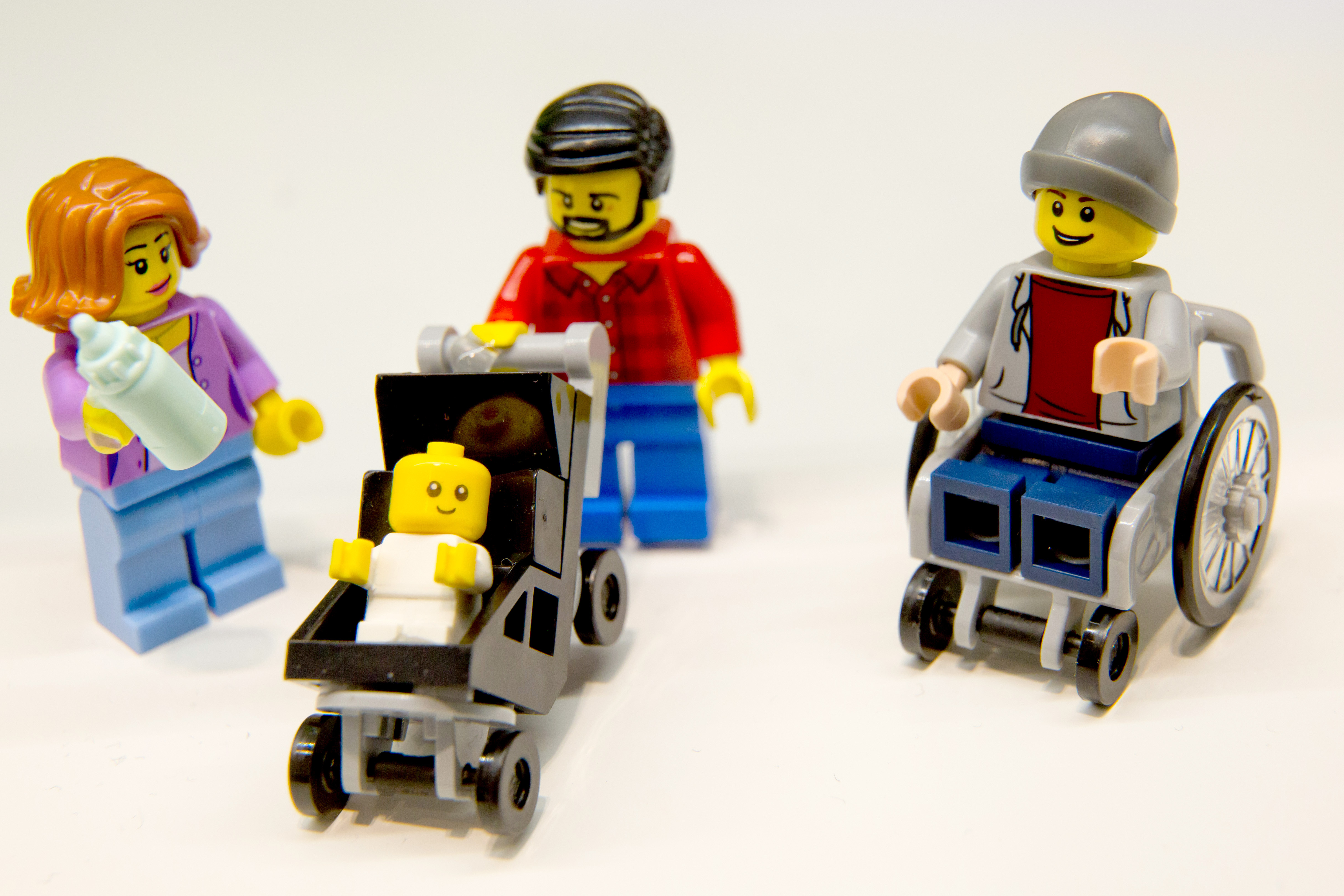 Lego figurines, including one in a wheelchair are pictured at the Lego booth on January 28, 2016 in Nuernberg during the 67th International Toy Fair.