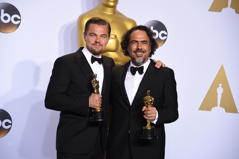 Leonardo DiCaprio, left, and Alejandro Iñárritu, right, on Feb. 28, 2016 in Hollywood, Calif.