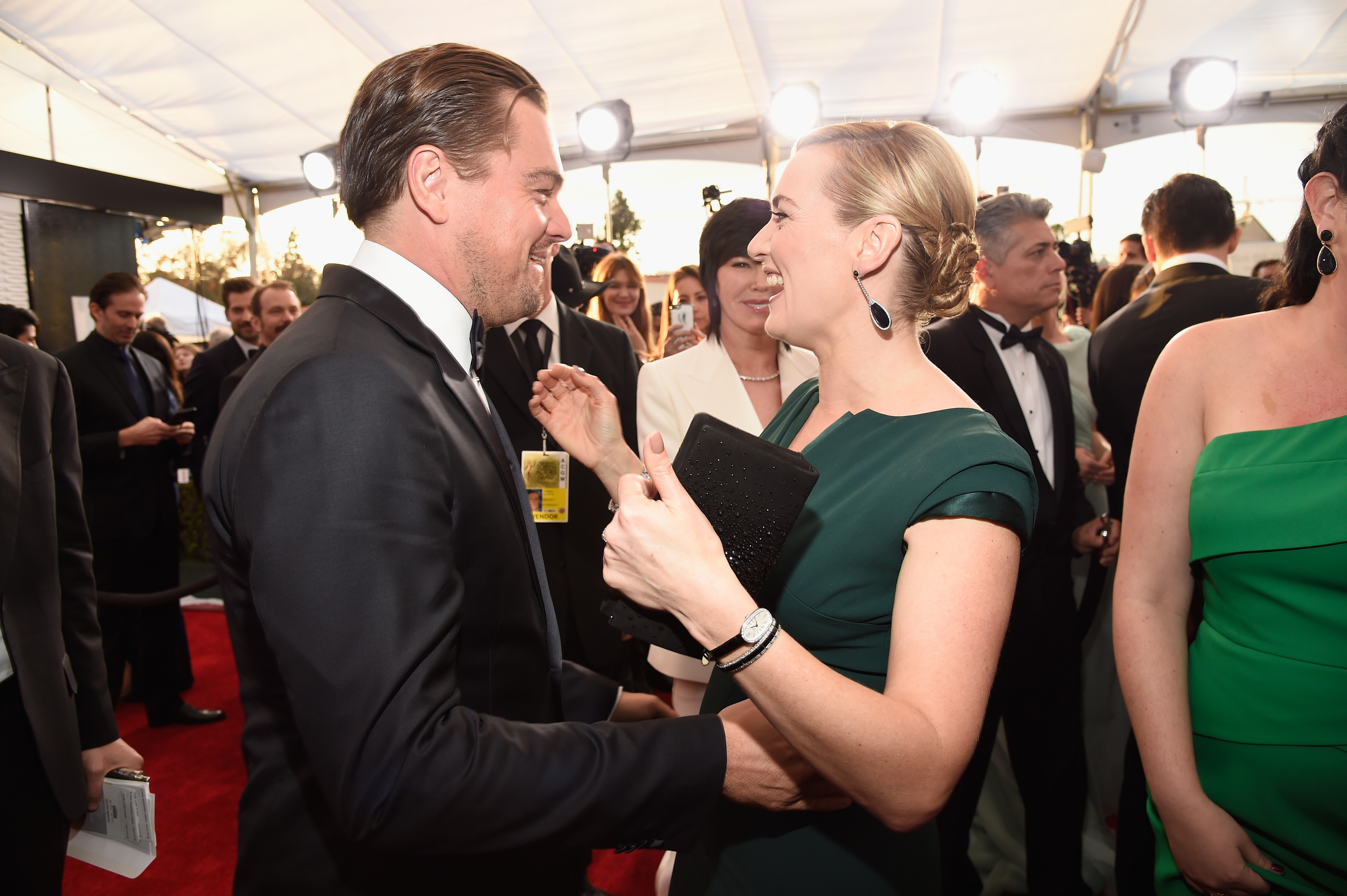 Leonardo DiCaprio and Kate Winslet attend The 22nd Annual Screen Actors Guild Awards on Jan. 30, 2016 in Los Angeles.
