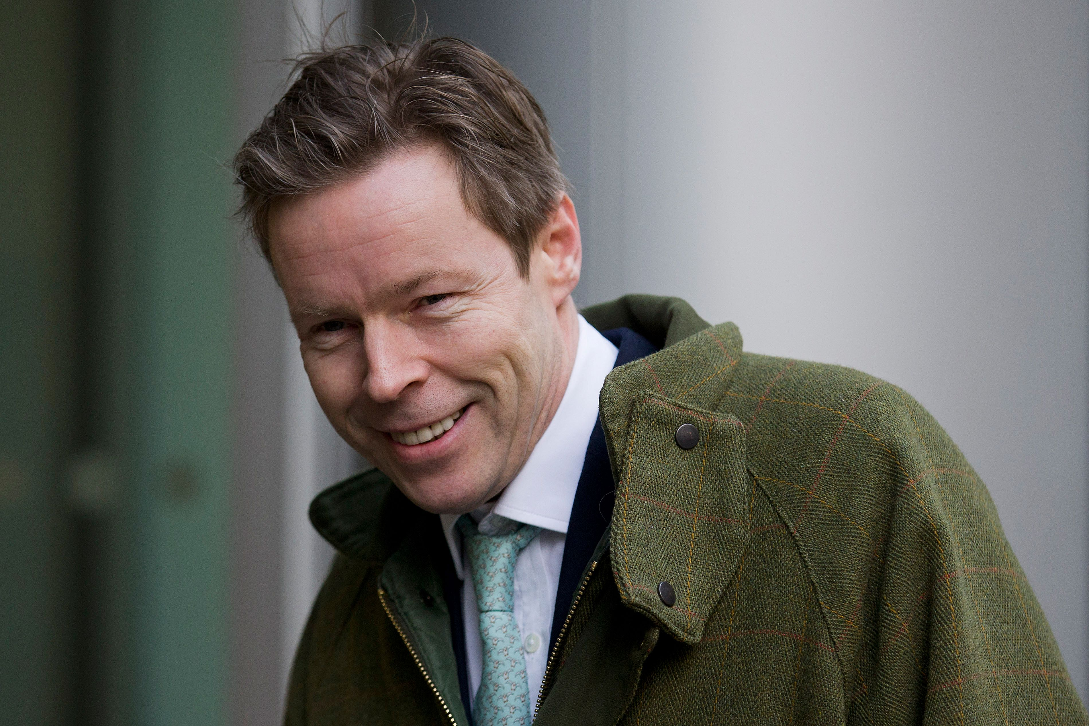George Bingham, the only son of the infamous British aristocrat Lord Lucan, arrives at the High Court in central London on February 3, 2016.