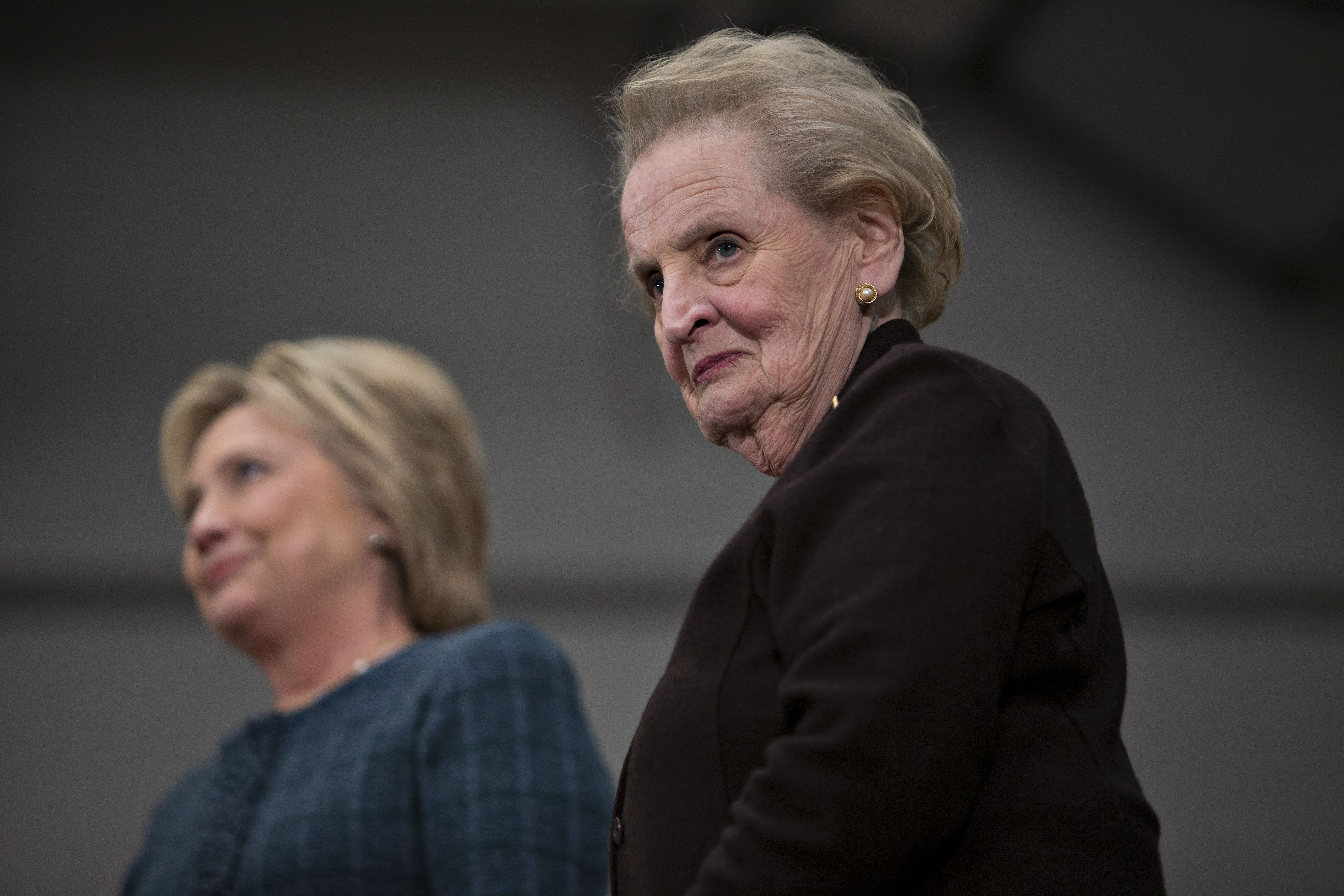 Madeleine Albright, right, joins Hilary Clinton, left, in Concord, N.H. on Feb. 6, 2016.