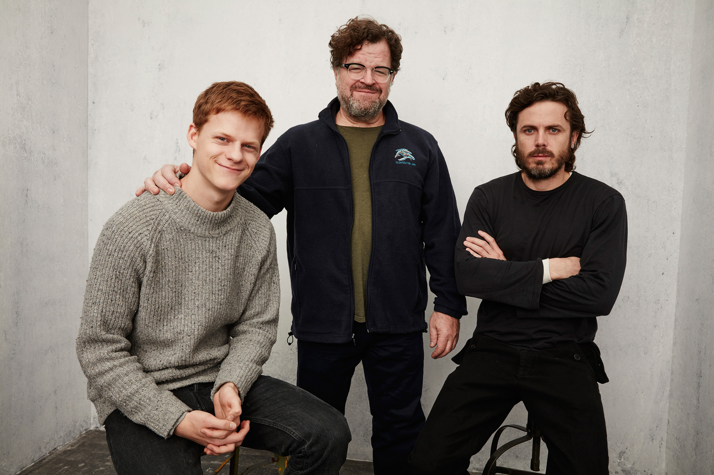 Actor Lucas Hedges, writer/director Kenneth Lonergan and actor Casey Affleck from  Manchester by the Sea  at the Getty Images Portrait Studio in Park City, Utah on Jan. 24, 2016.