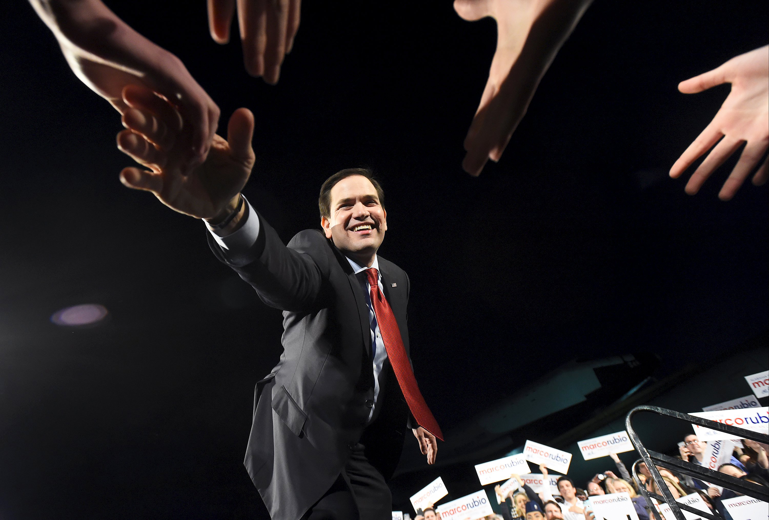 Marco Rubio greets supporters during a campaign stop at the U.S. Space and Rocket Center in Huntsville, Alabama on  Feb. 27, 2016.