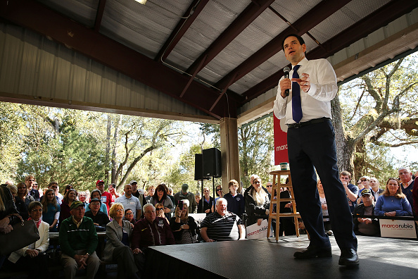Presidential candidate and Florida Sen. Marco Rubio speaks to voters in North Carolina on February 16, 2016 in Summerville, South Carolina.