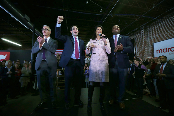 Republican presidential candidate Sen. Marco Rubio (R-FL) (2nd L) campaigns with (L-R) Rep. Trey Gowdy (R-SC), Governor Nikki Haley, and Sen. Tim Scott (R-SC) during an event February 18, 2016, in Greenville, South Carolina.