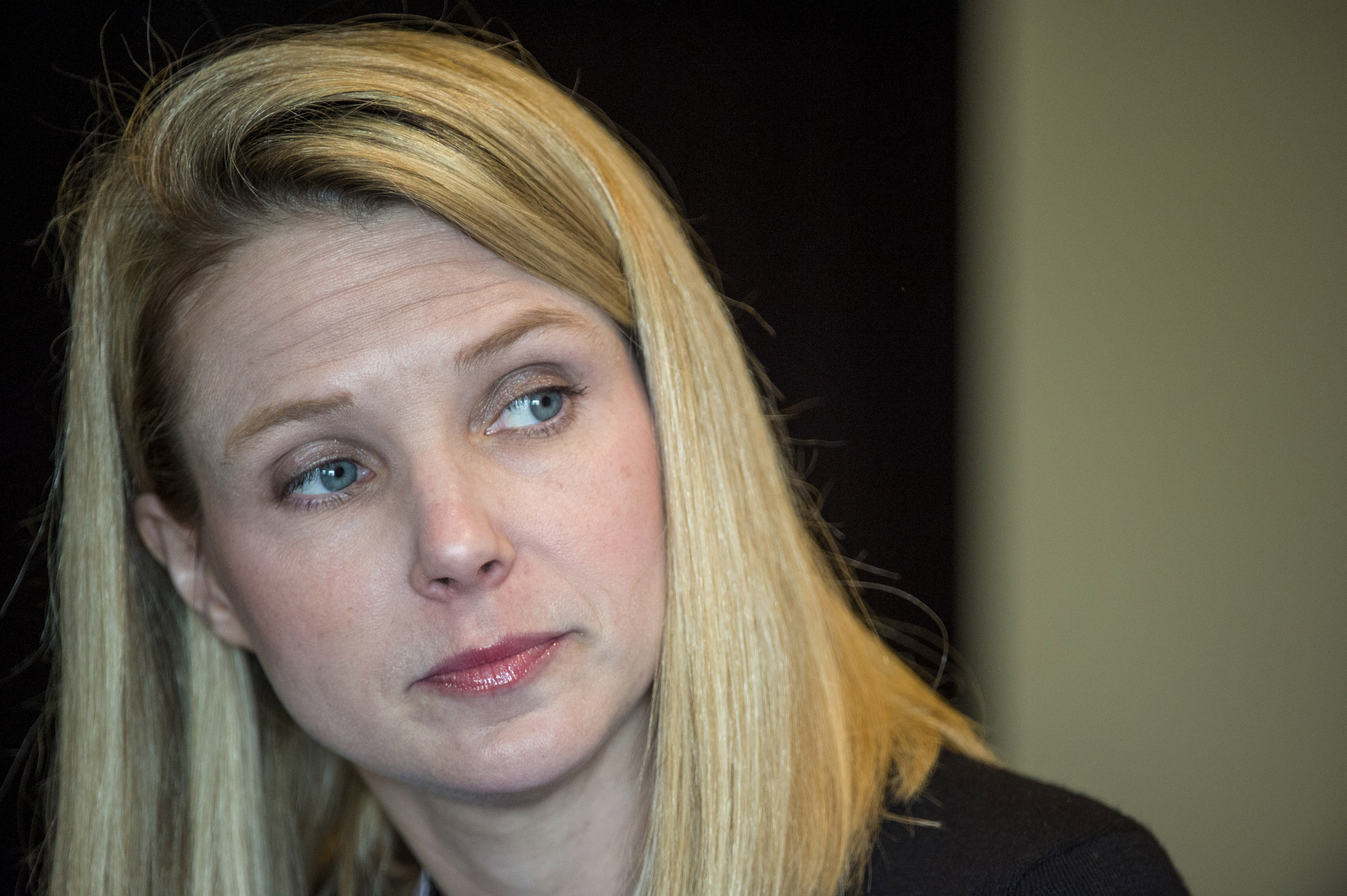 Marissa Mayer, president and chief executive officer at Yahoo! Inc., listens to a reporters question during a press conference at the Yahoo! Inc.