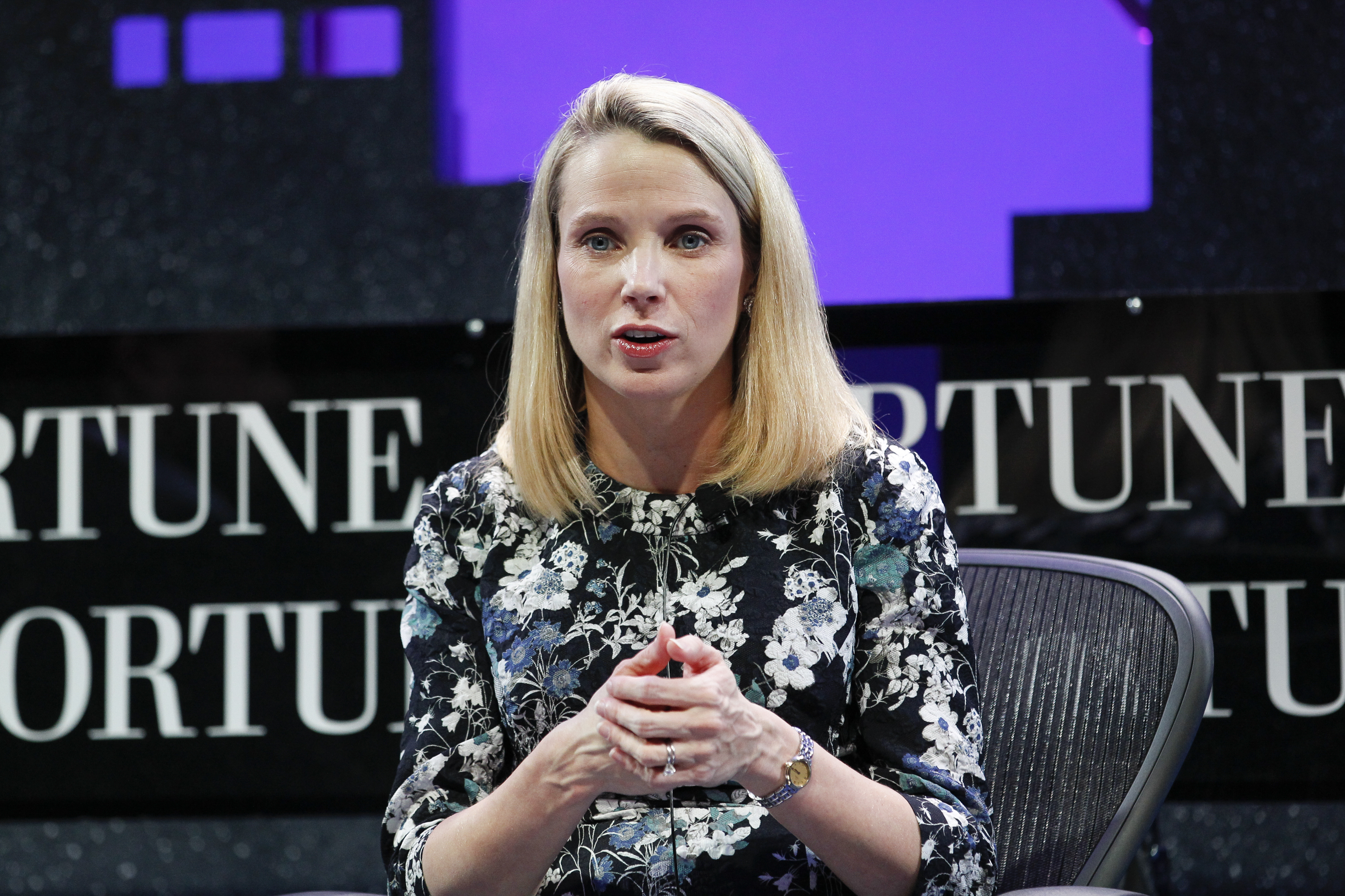 Marissa Mayer speaks during the Fortune Global Forum - Day2 at the Fairmont Hotel on Nov. 3, 2015 in San Francisco, California.