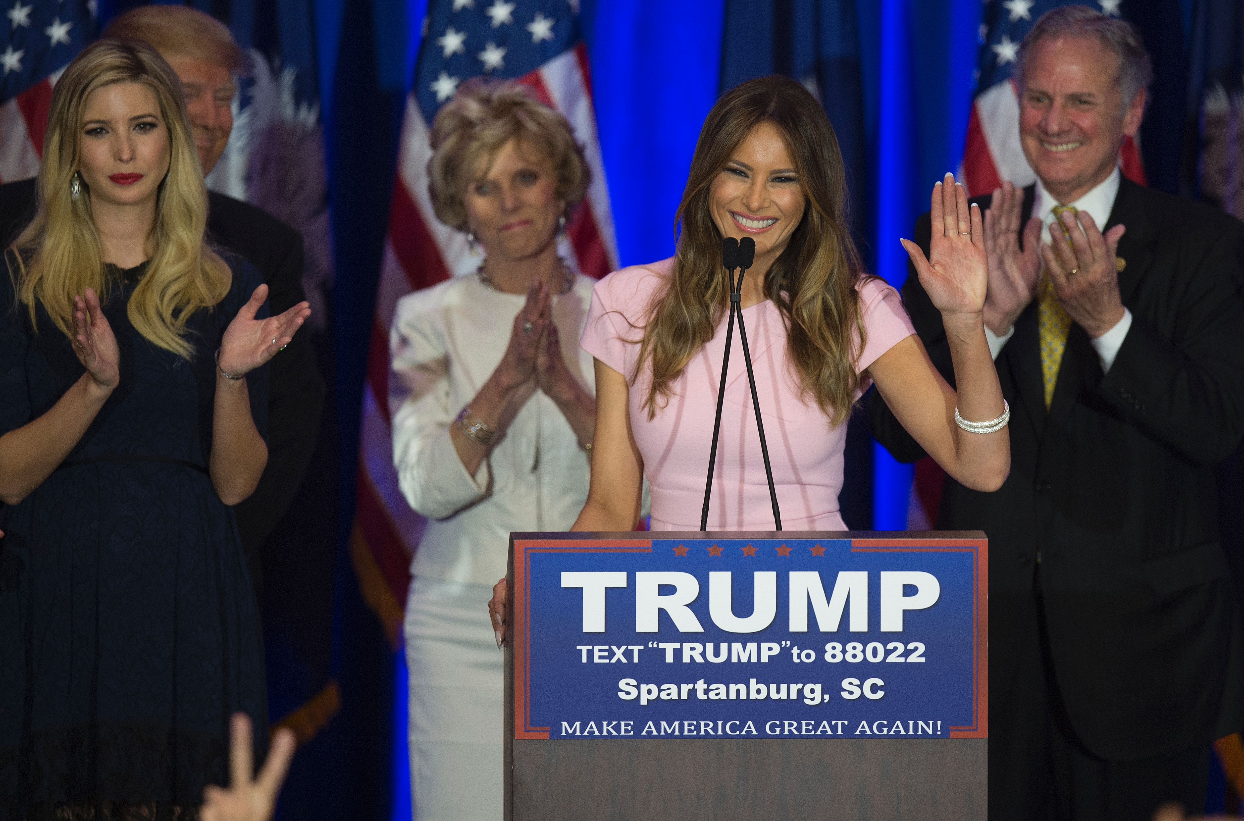 Republican presidential candidate Donald Trump's  wife Melania Trump speaks as they celebrate victory in the South Carolina primary on February 20, 2016 in Spartanburg, South Carolina.