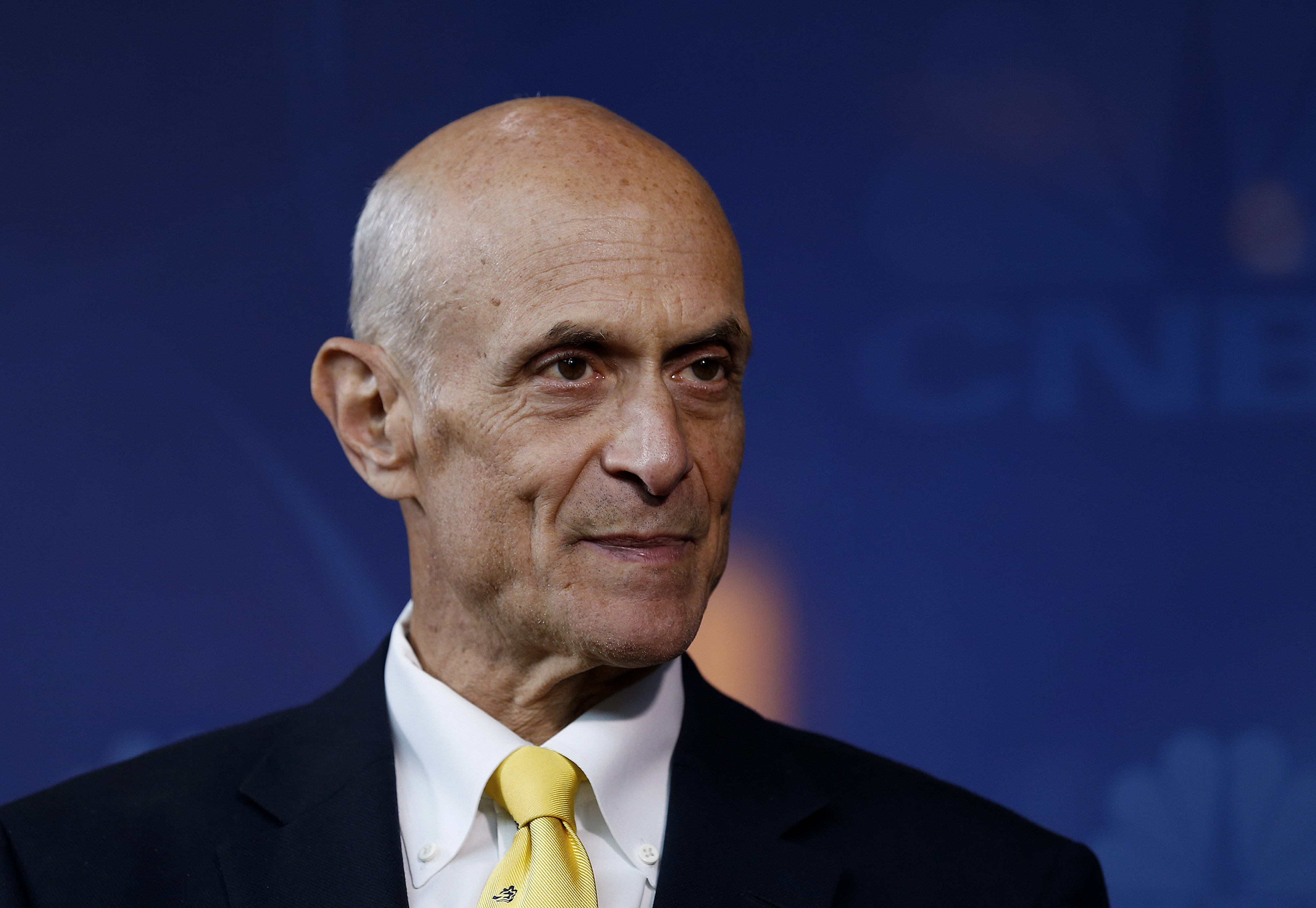 Michael Chertoff speaks during an interview in Houston, Texas on March 5, 2014.