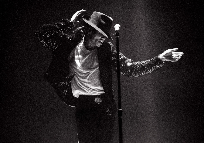 Michael Jackson performs in concert circa 1995.